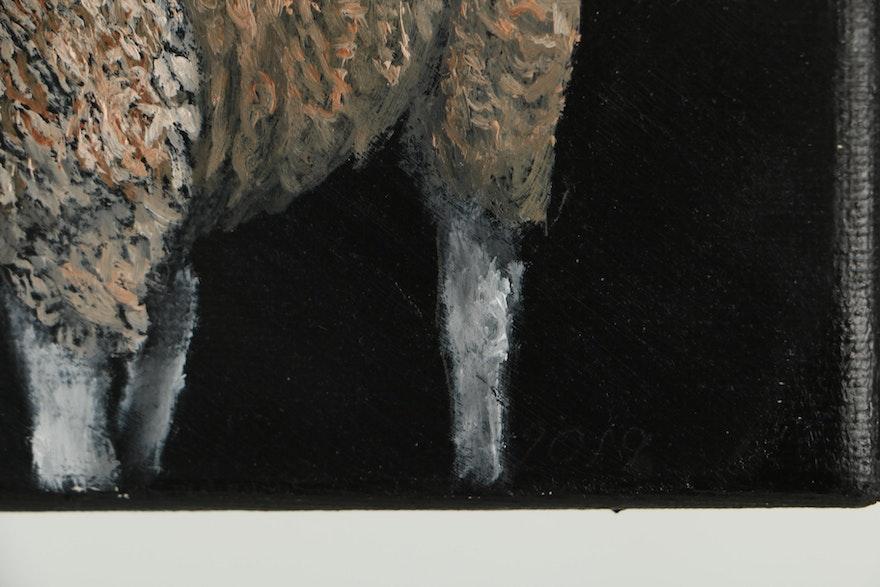 Siân Sloman Sheep Oil Painting