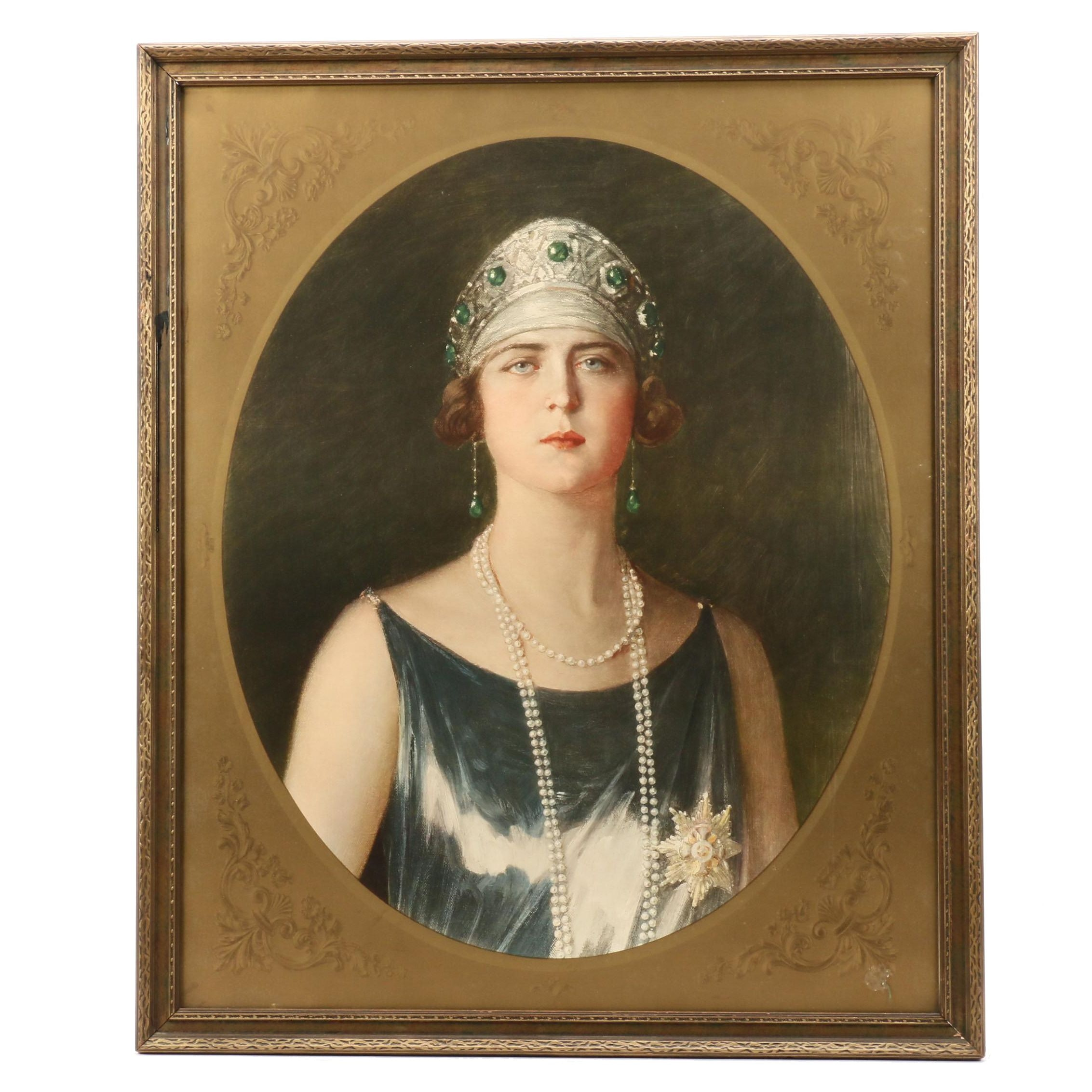 Color Collotype after Paja Jovanović Portrait of Queen Marie of Yugoslavia
