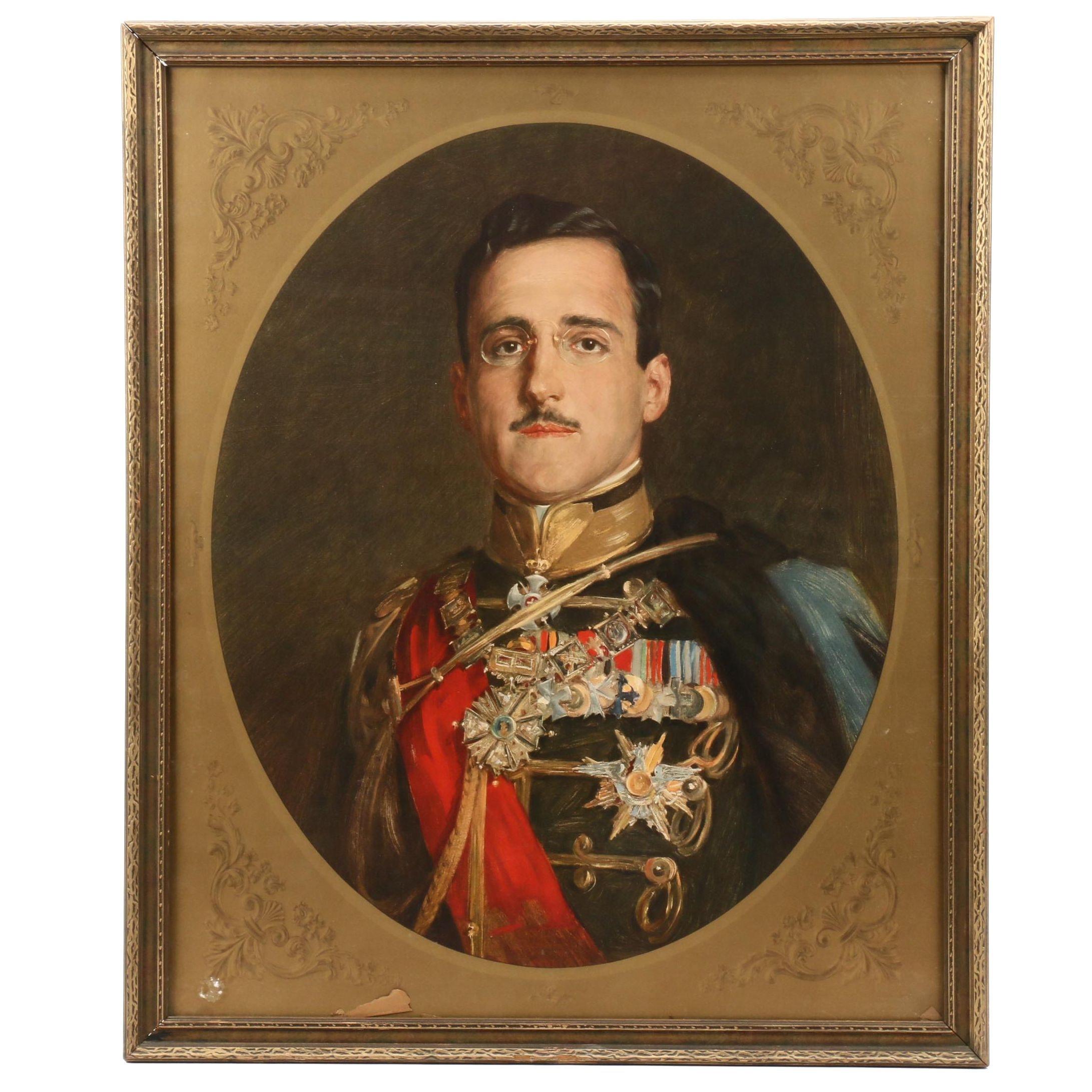 Color Collotype after Paja Jovanović Portrait of King Alexander I of Yugoslavia