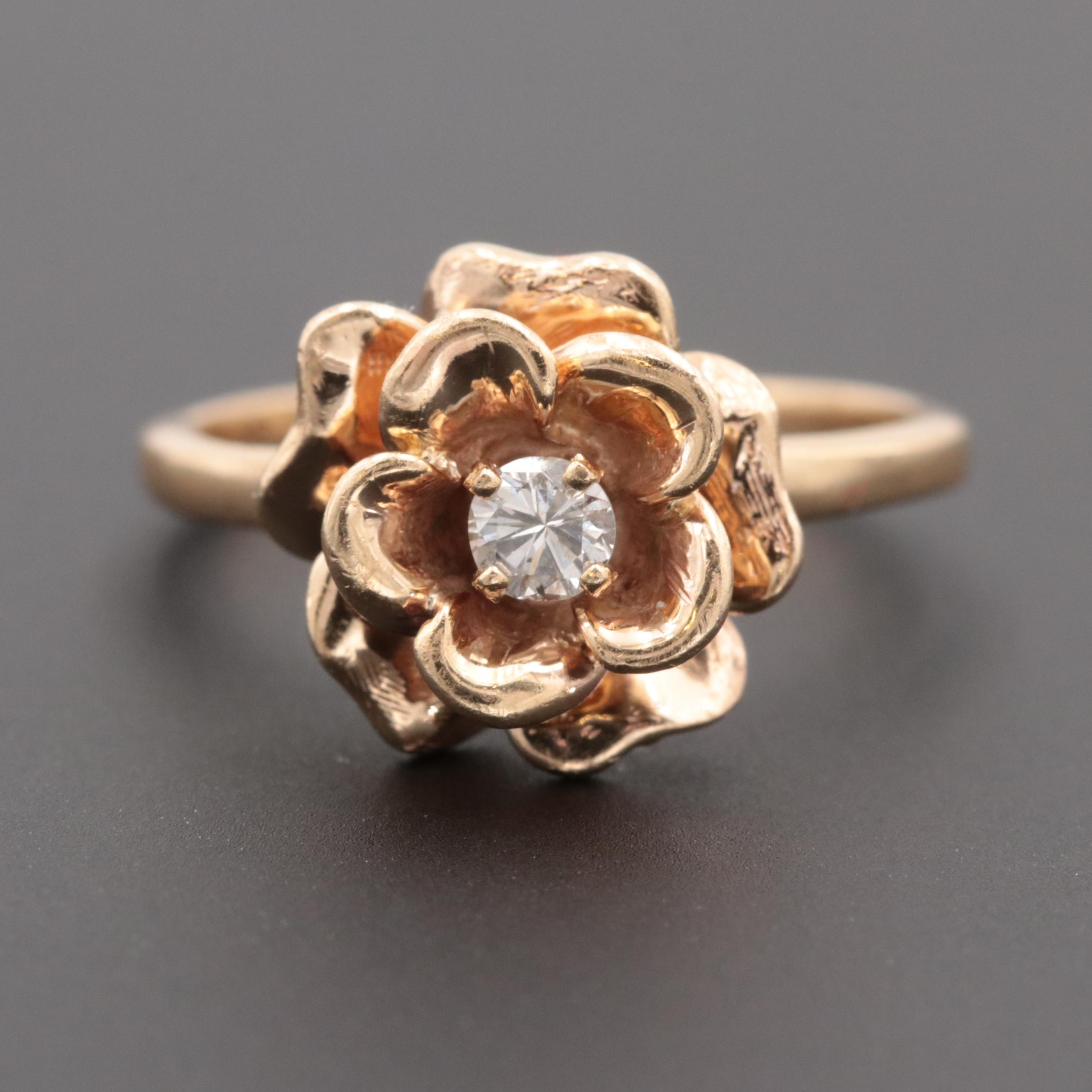 14K Yellow Gold Diamond Flower Motif Ring