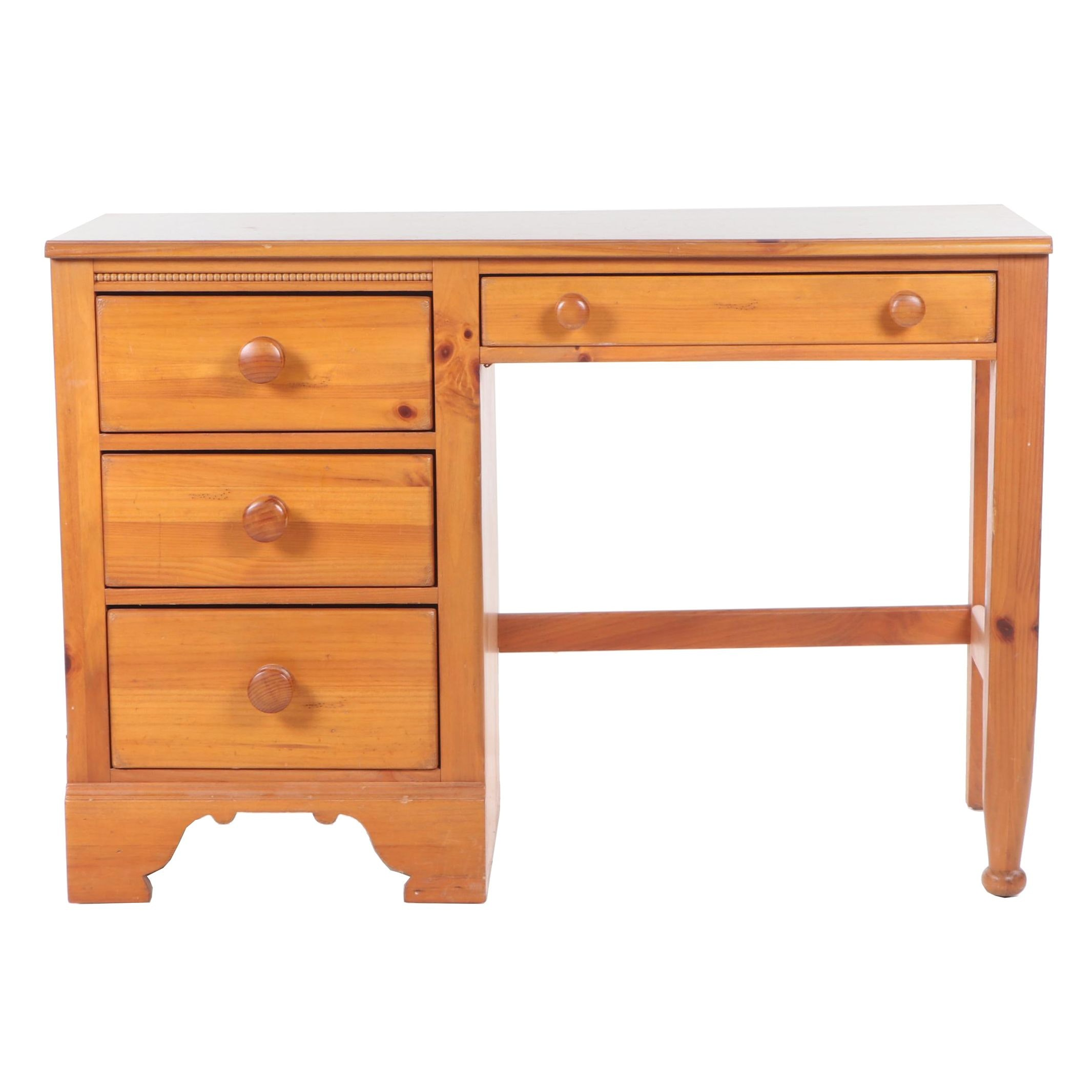 Lexington Pine Kneehole Desk with Side Chair, Contemporary