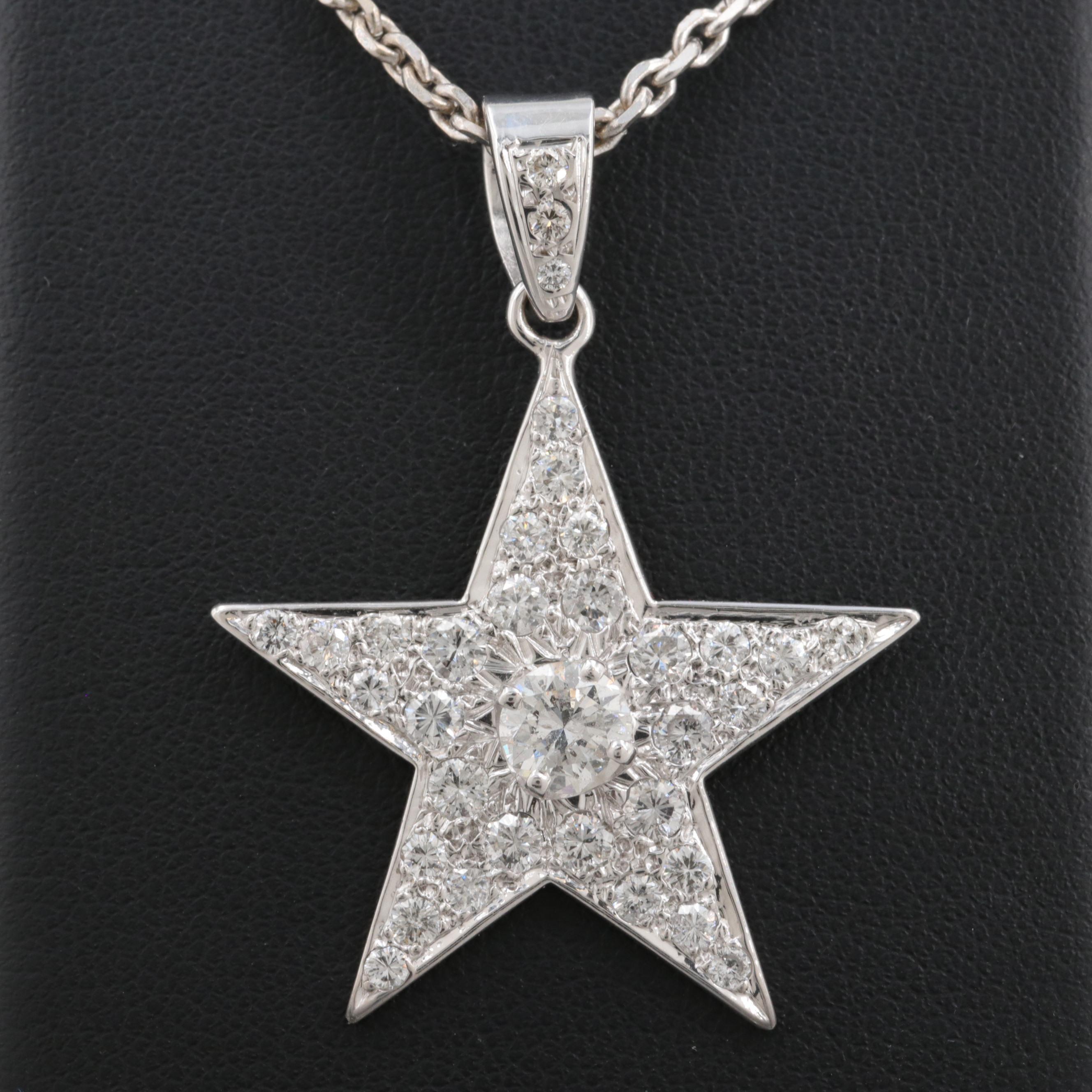14K White Gold 2.28 CTW Diamond Star Pendant Necklace