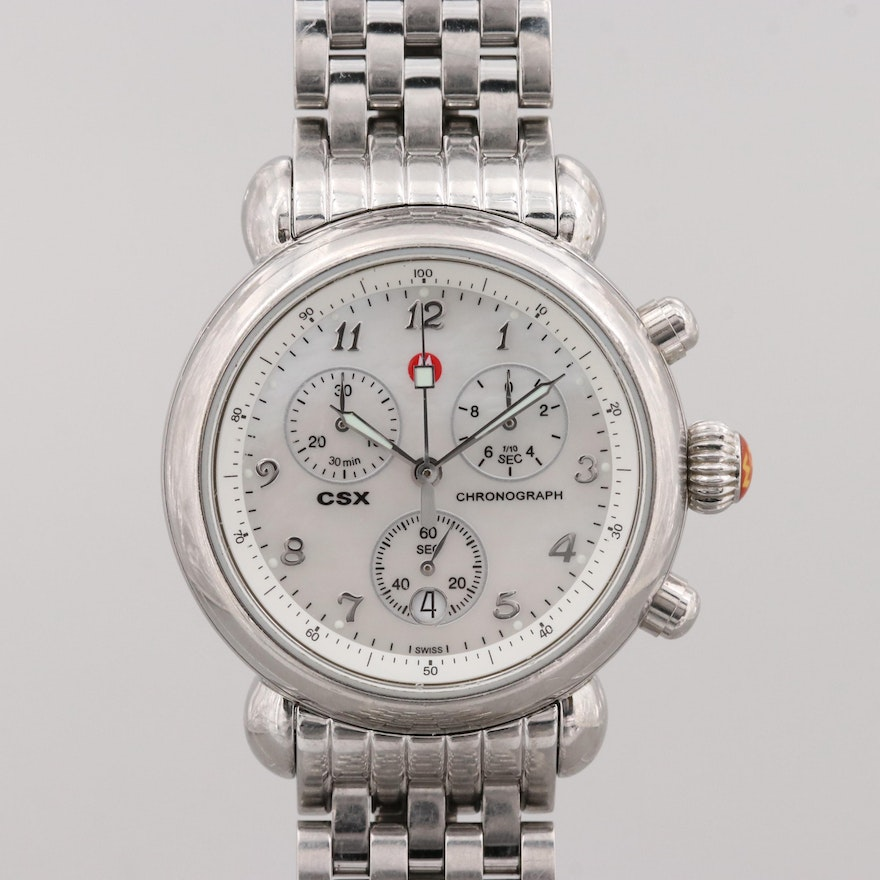 Michele Csx Stainless Steel And Mother Of Pearl Quartz Chronograph Wristwatch