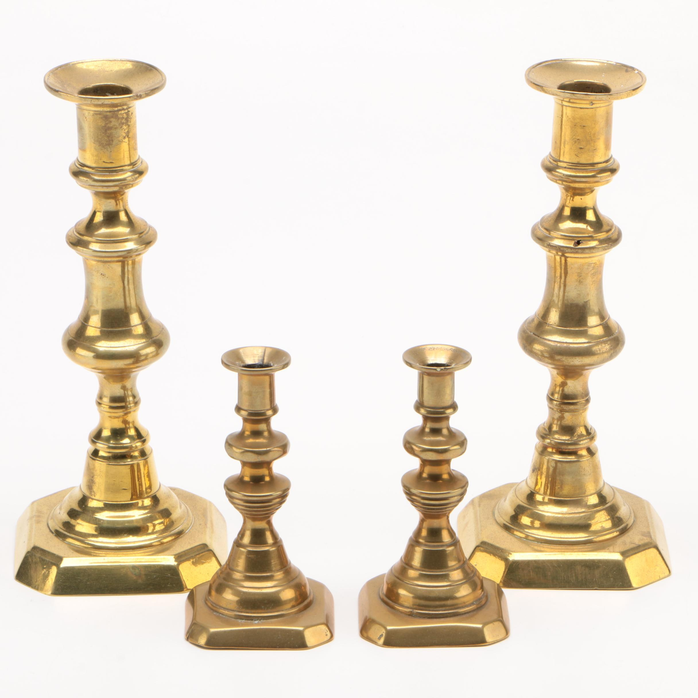 English Brass Baluster Candlestick Pairs, Late 19th/ Early 20th Century