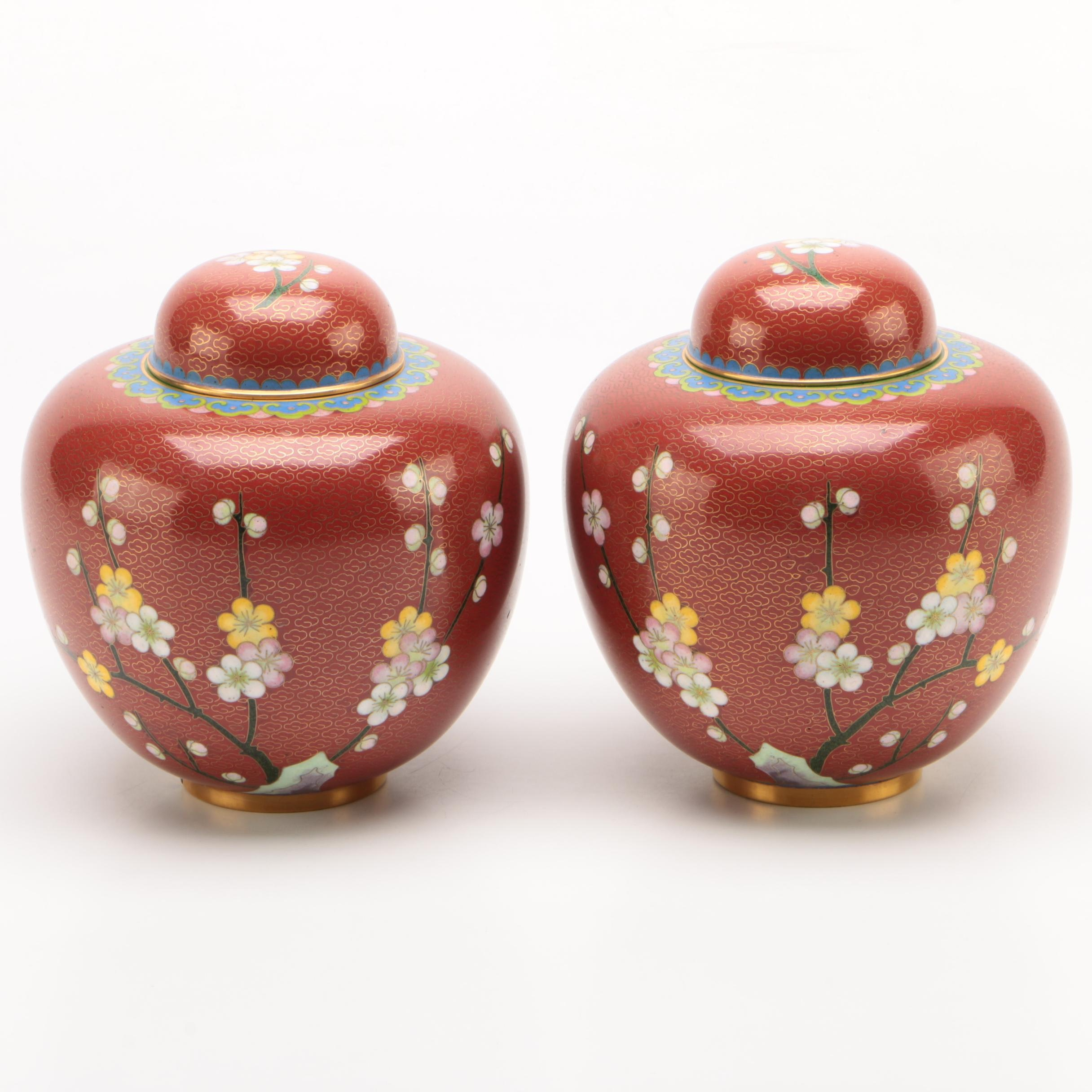 Chinese Cloissoné Ginger Jars with Cherry Blossom Motif