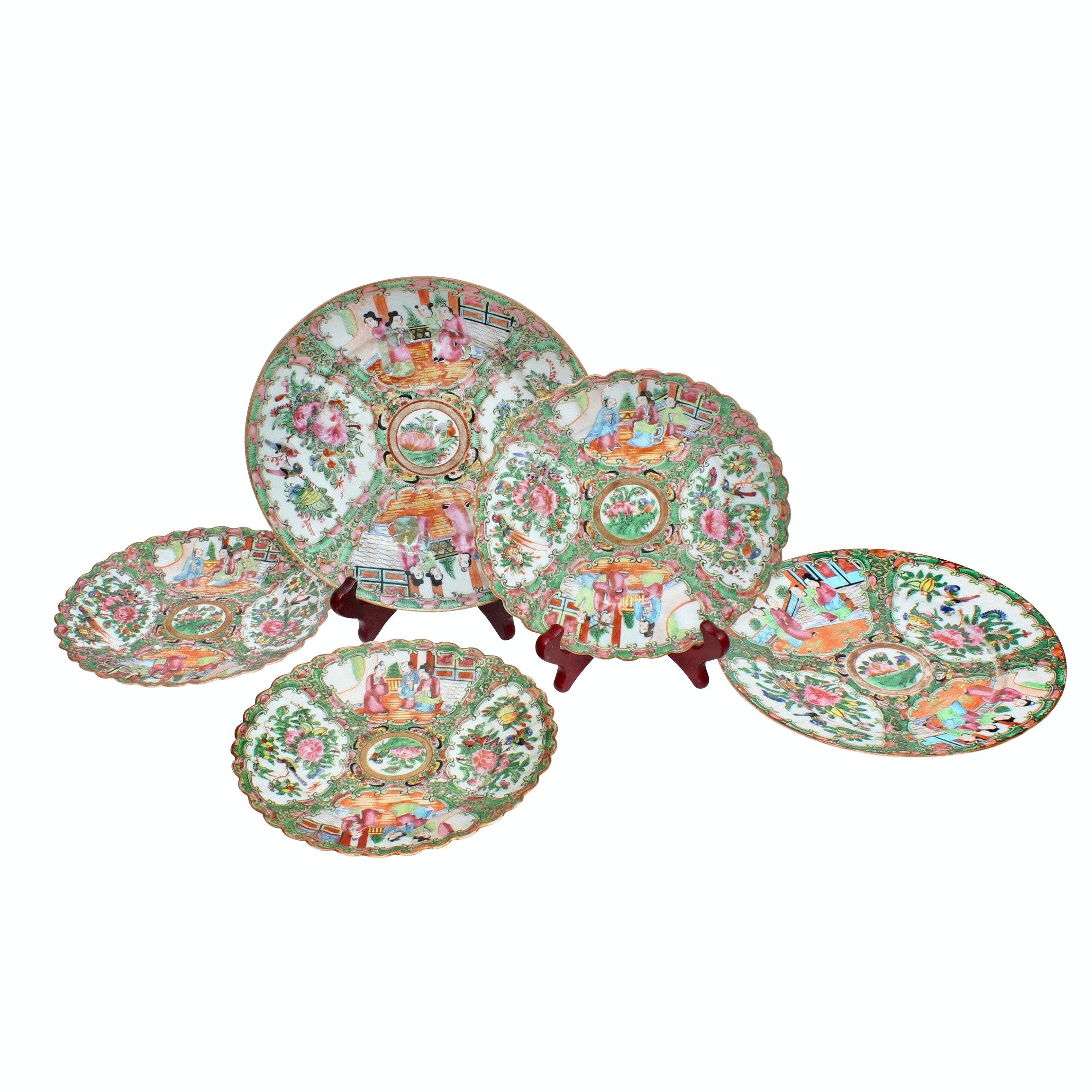 "Chinese ""Rose Medallion"" Porcelain Tableware, Antique"