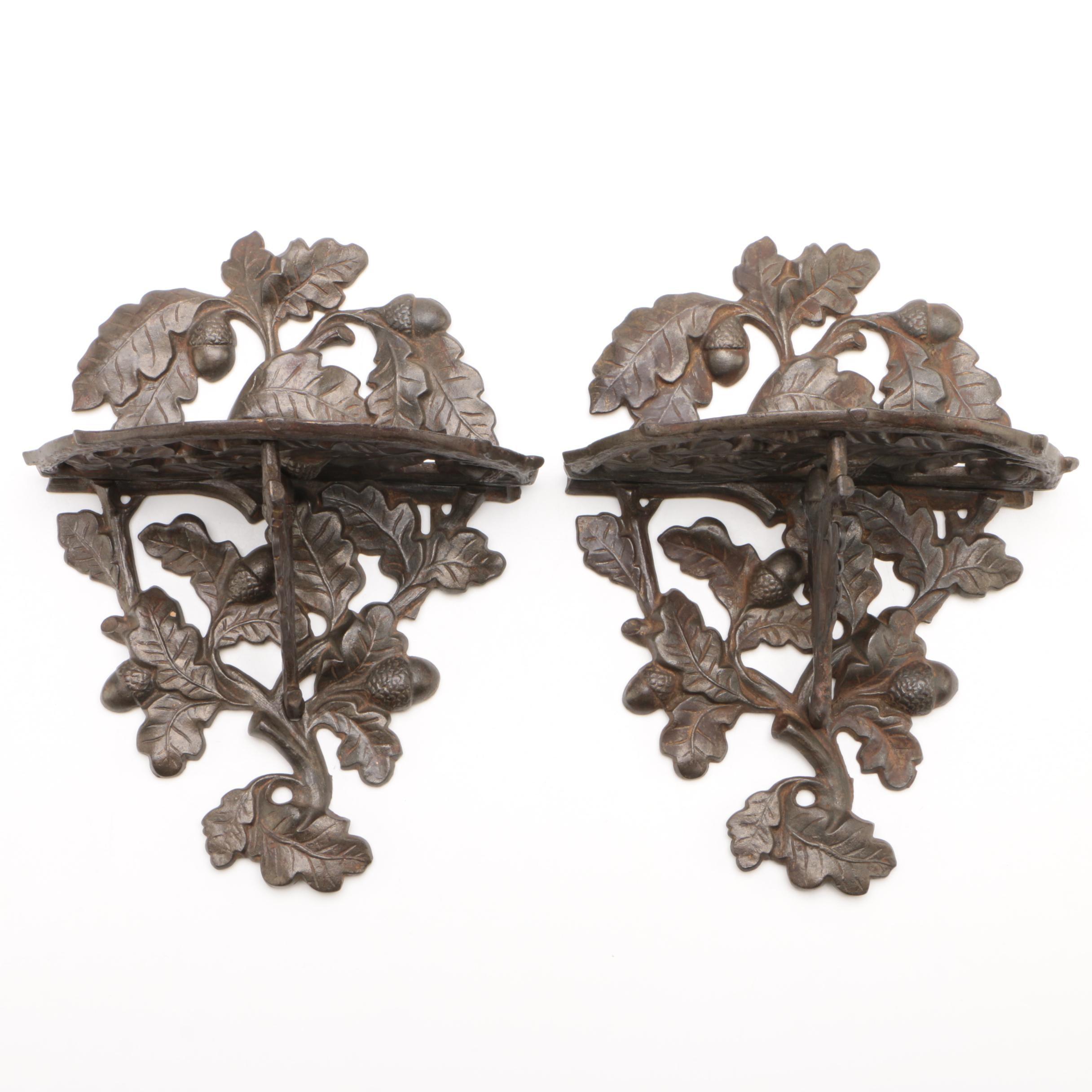 Cast Iron Oak Leaf and Acorn Brackets, Late 19th Century