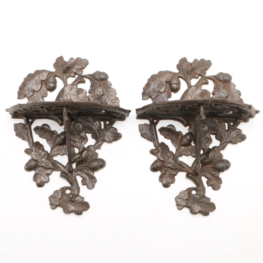 Cast Iron Oak Leaf and Acorn Brackets, Late 19th Century