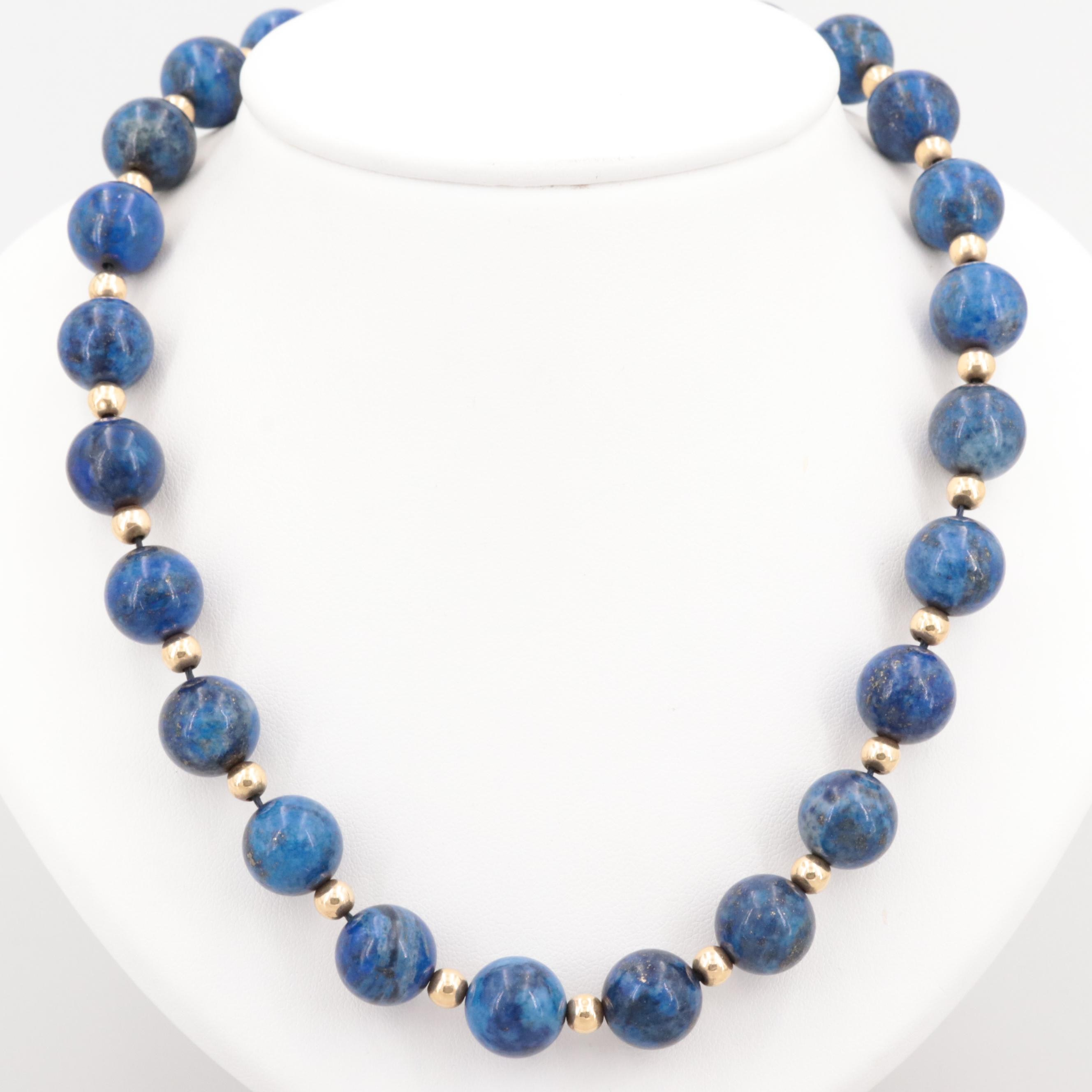 18K Yellow Gold Lapis Lazuli Beaded Necklace