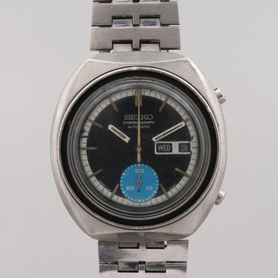 b3b3ee331 Vintage Seiko 6139-8040 Stainless Steel Automatic Chronograph Wristwatch