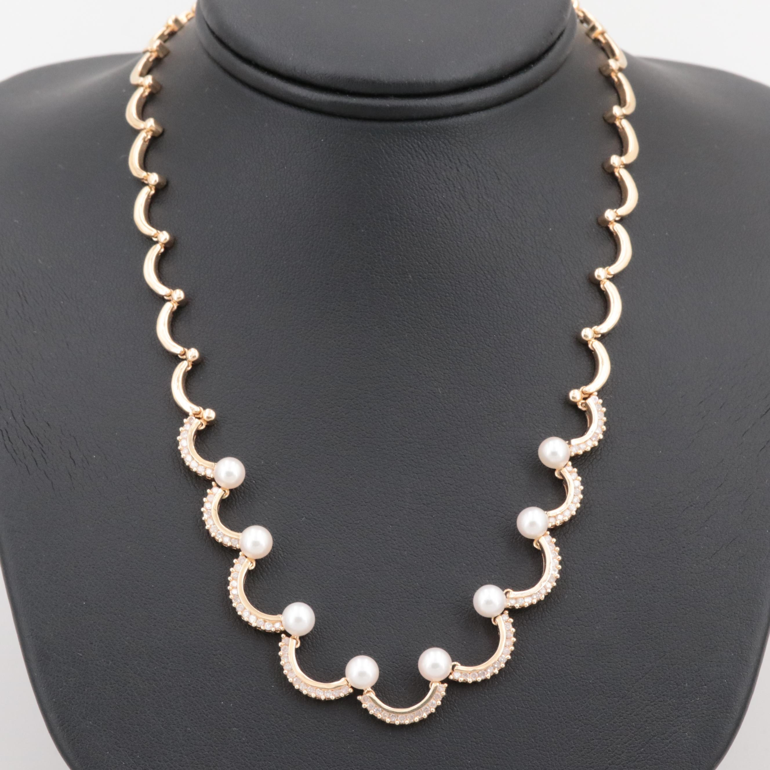 14K Yellow Gold Cultured Pearl and 0.96 CTW Diamond Necklace