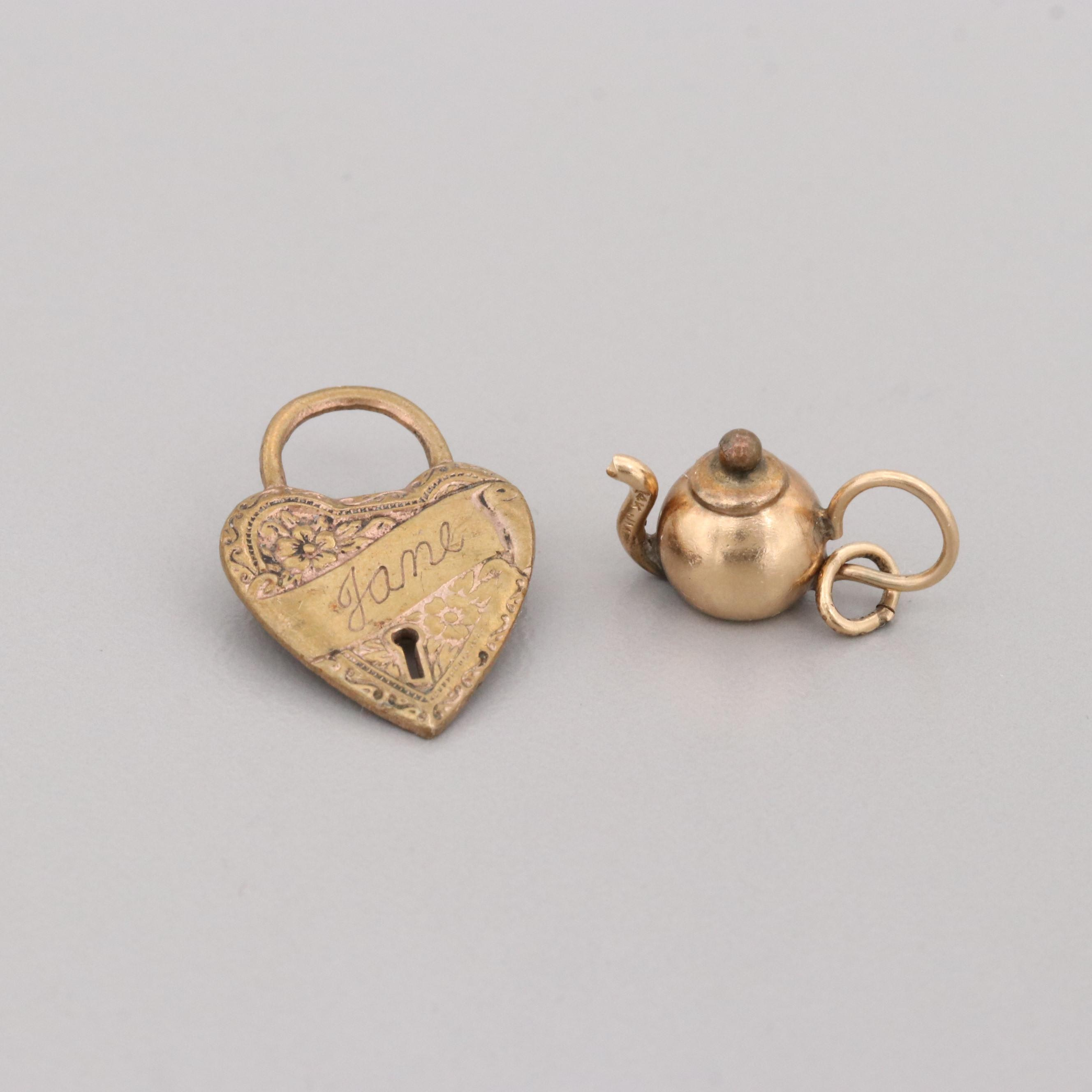 Antique 14K Yellow Gold Teapot Charm and Gold Tone Engraved Heart Brooch