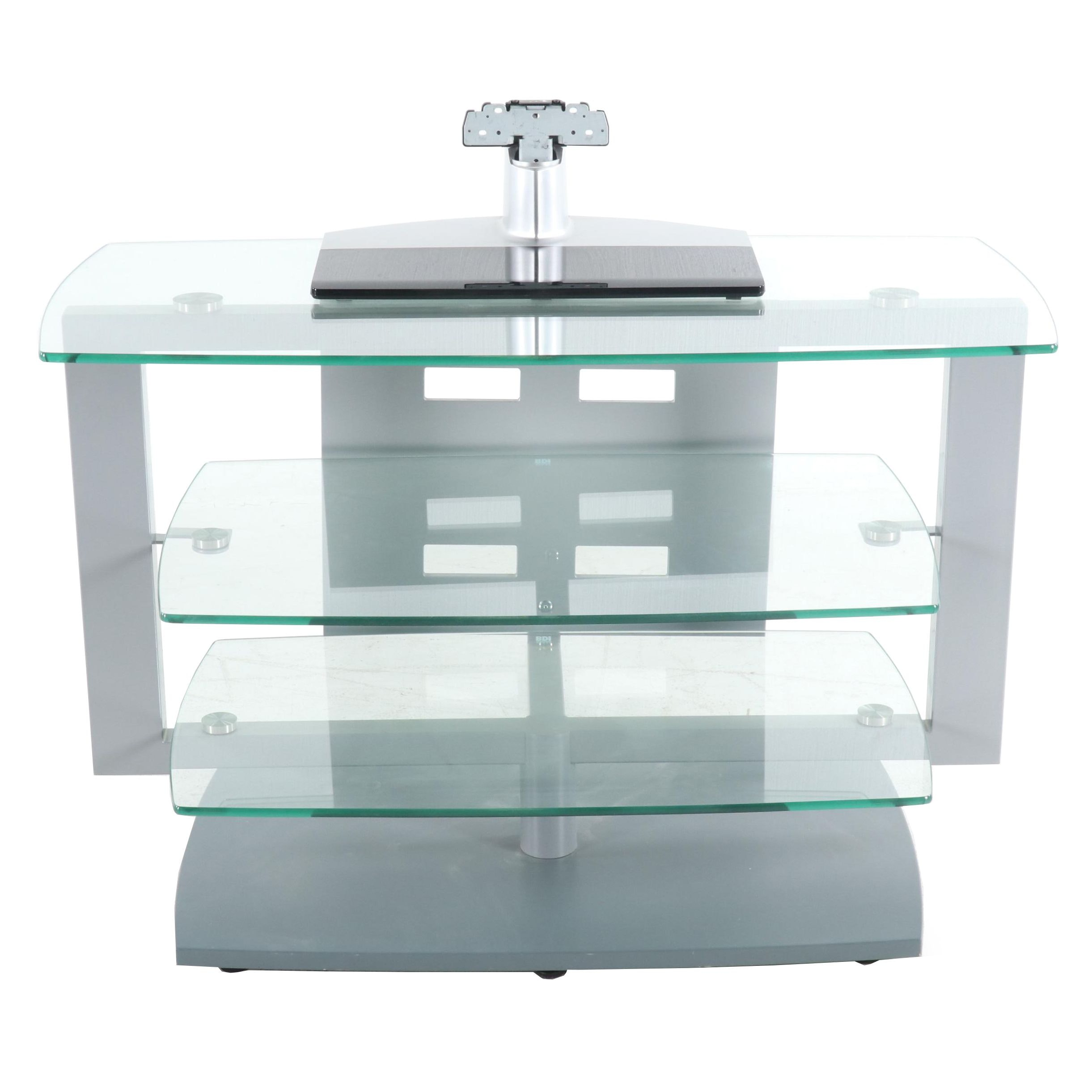 Contemporary BDI Swivel Top Glass and Metal TV Stand