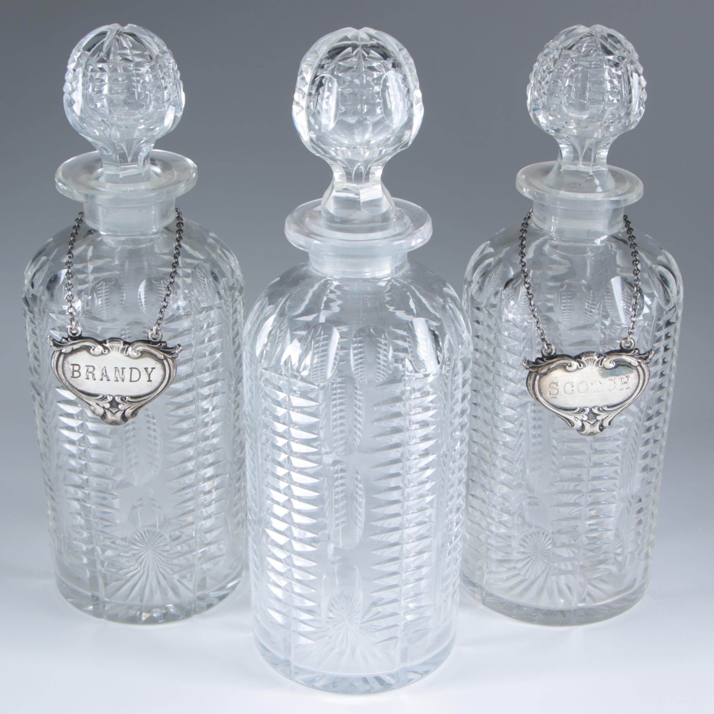 Cut Glass Decanters with Sterling Silver Labels