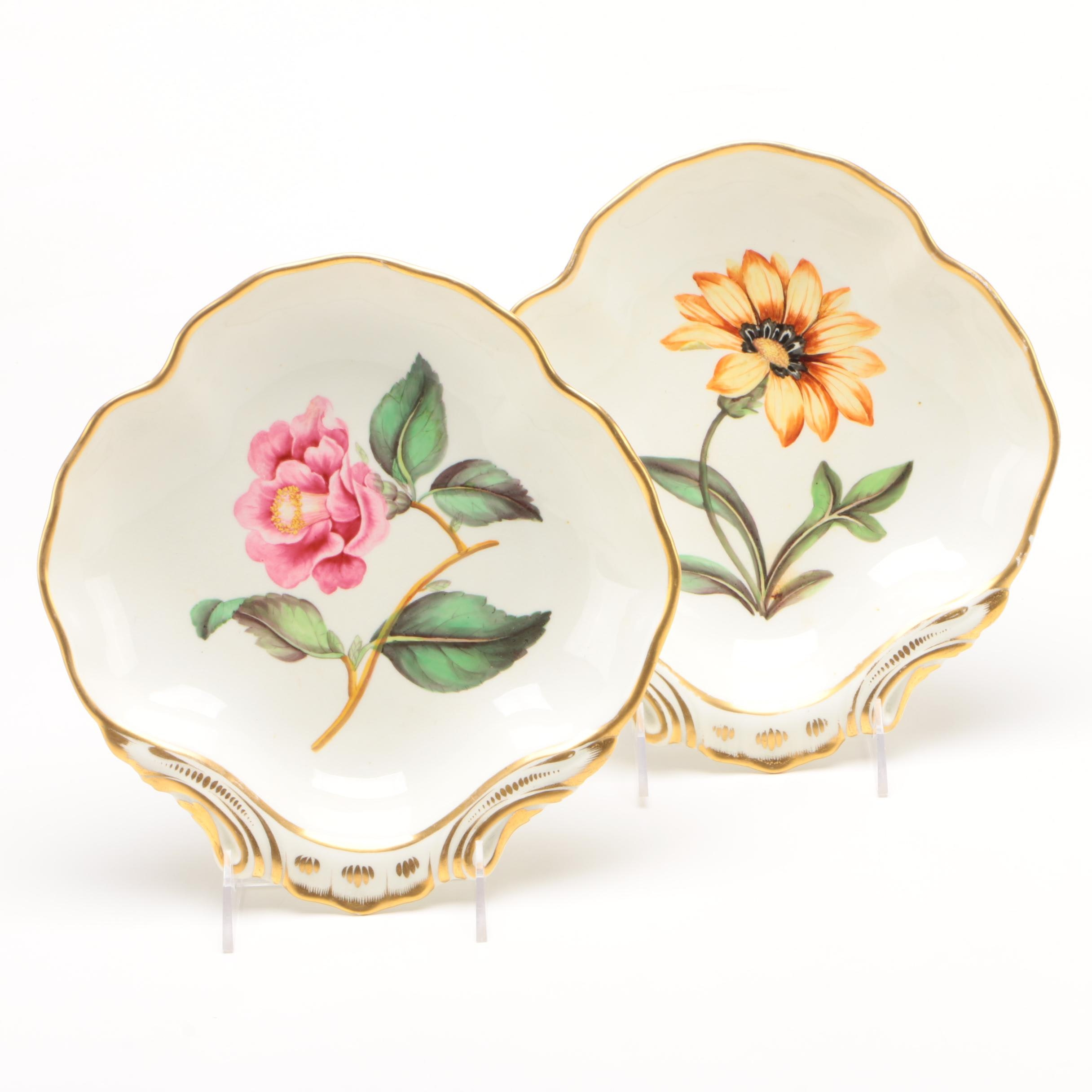 Duesbury Derby Botanical Painted Shell Dessert Shell Dishes