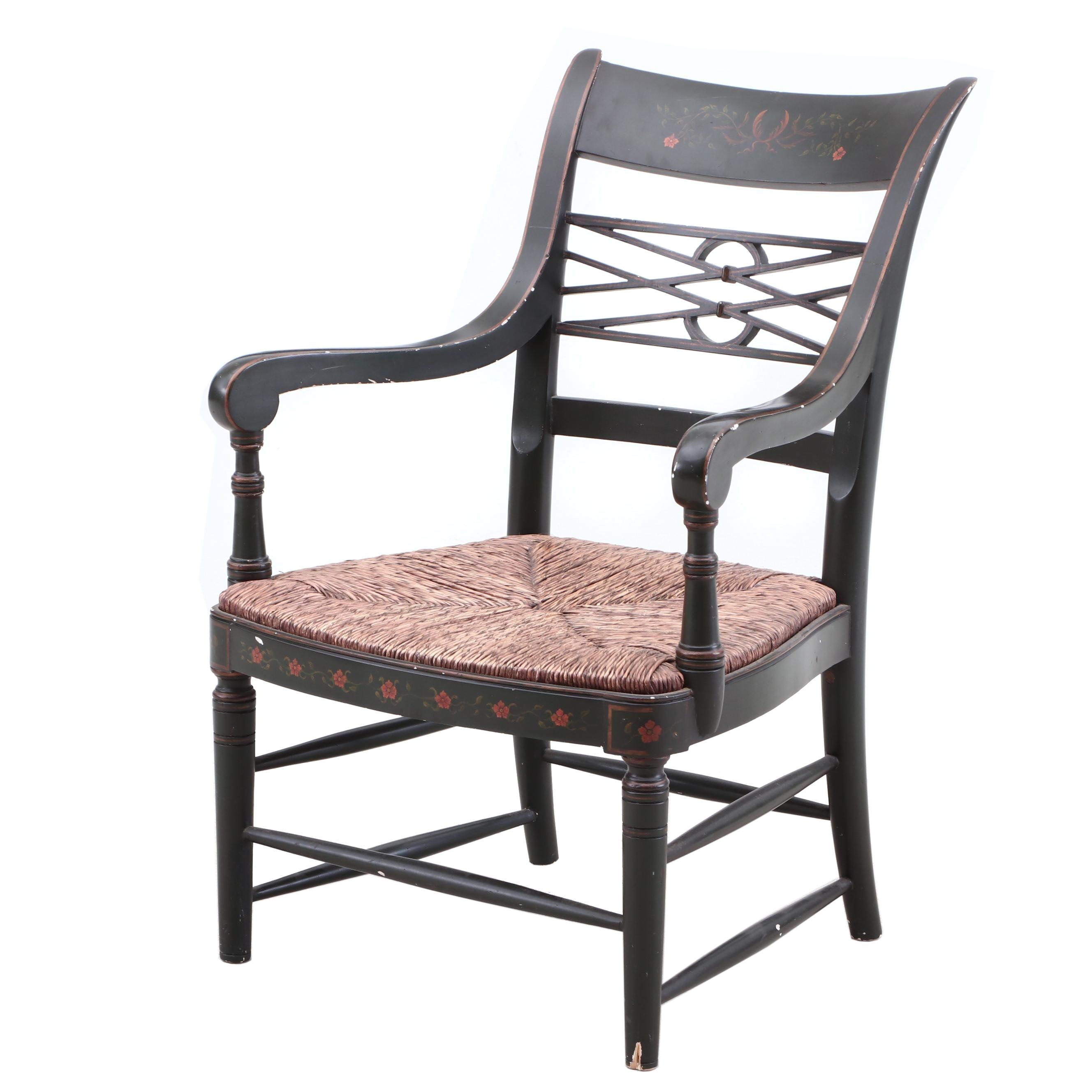Empire Revival Ebonized and Stenciled Armchair, Late 19th Century