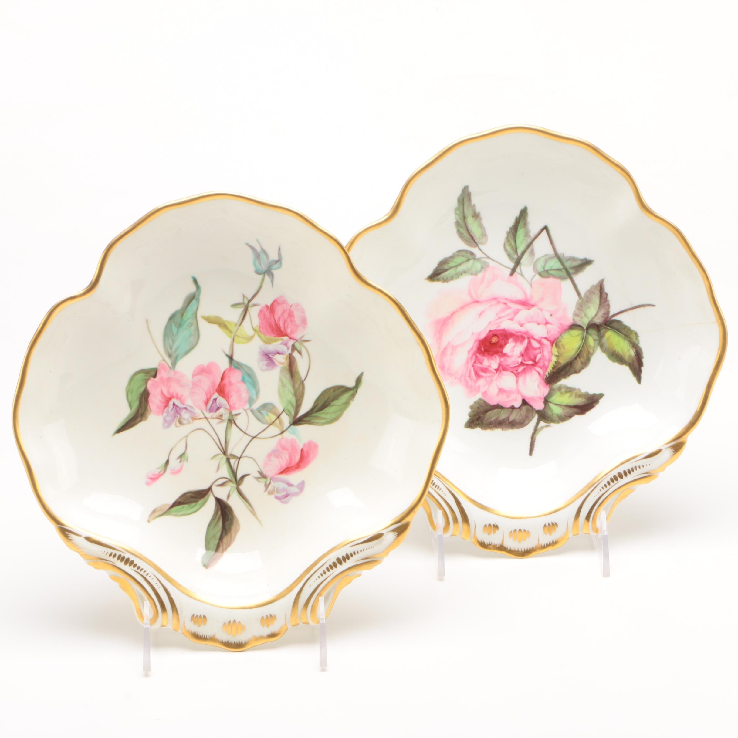 Duesbury Derby Botanical Painted Shell Dessert Dishes
