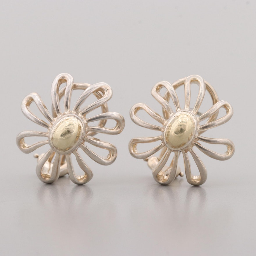 Paloma Pico For Tiffany Co Sterling Flower Earrings With 18k Gold Accents