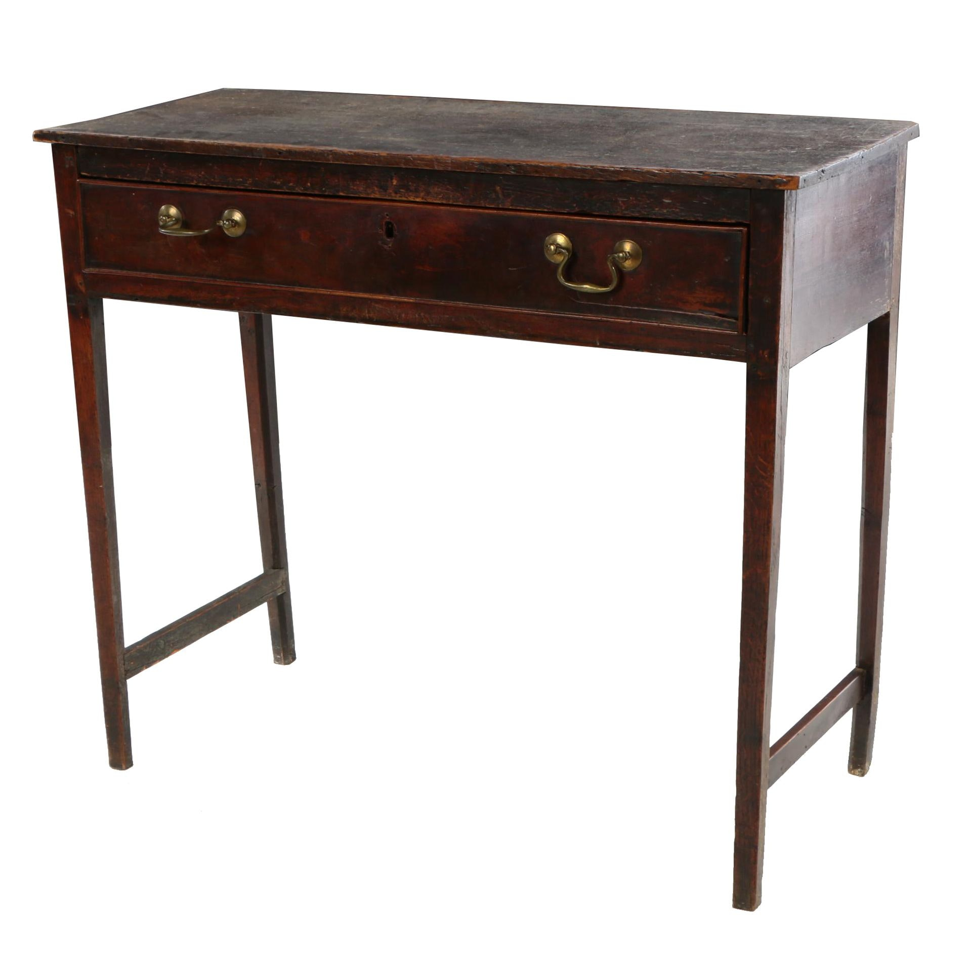 English Mahogany and Oak Side Table, 19th Century