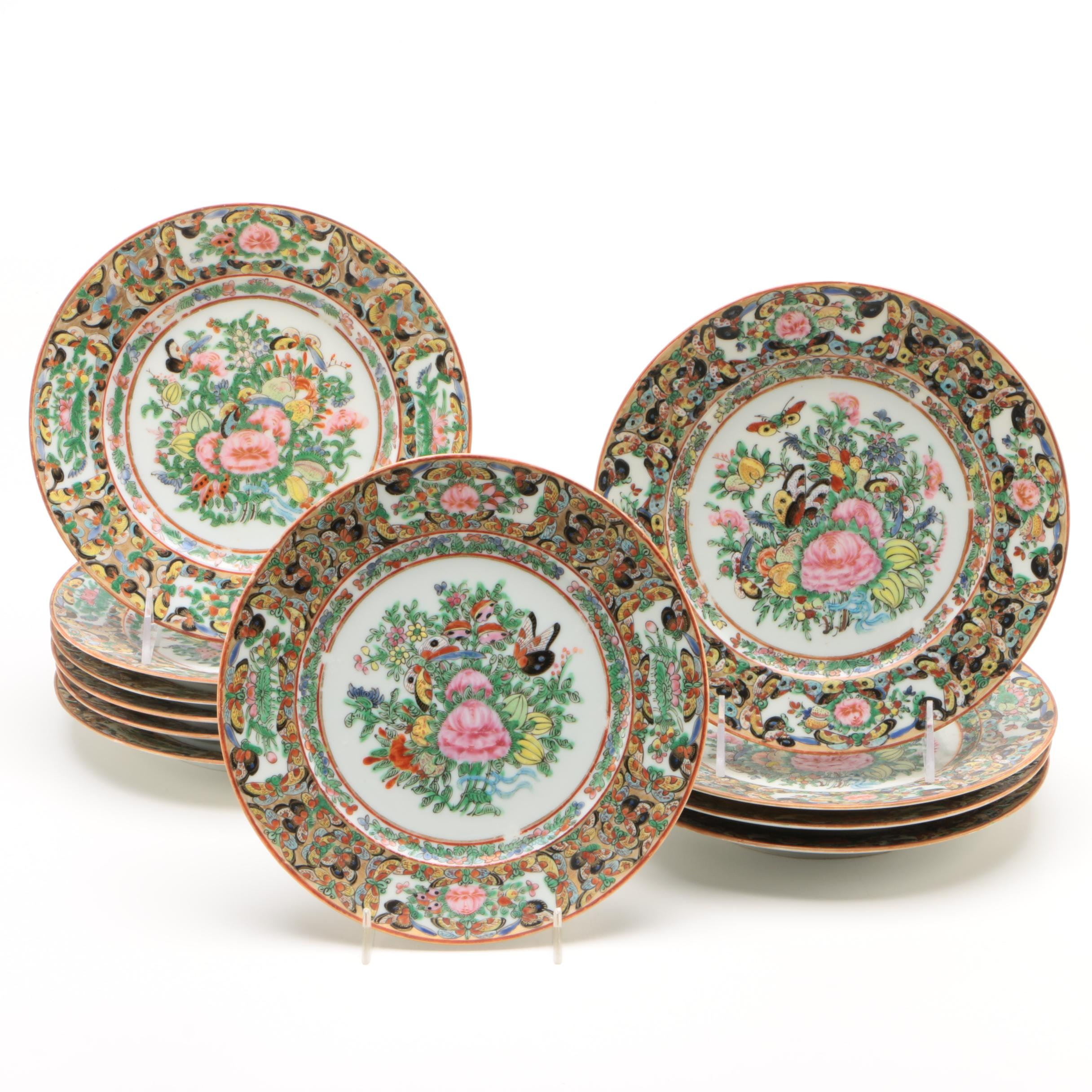 """Chinese Export """"Thousand Butterfly"""" Porcelain Plates"""