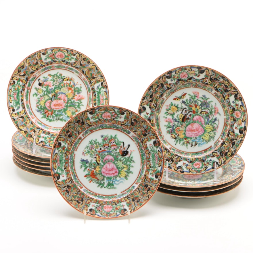 "Chinese Export ""Thousand Butterfly"" Porcelain Plates"