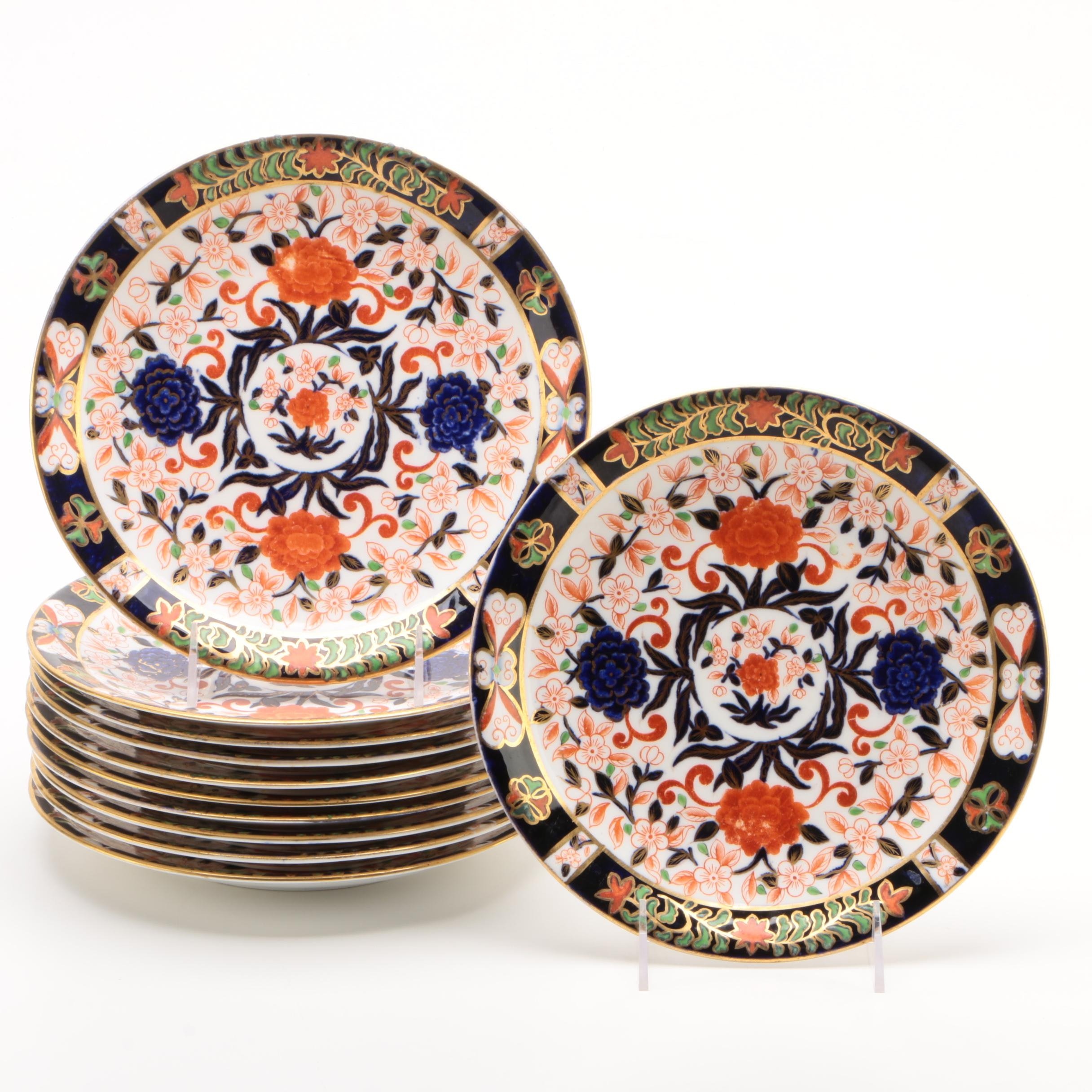 Royal Crown Derby Imari Decorated Plates, Late 19th Century