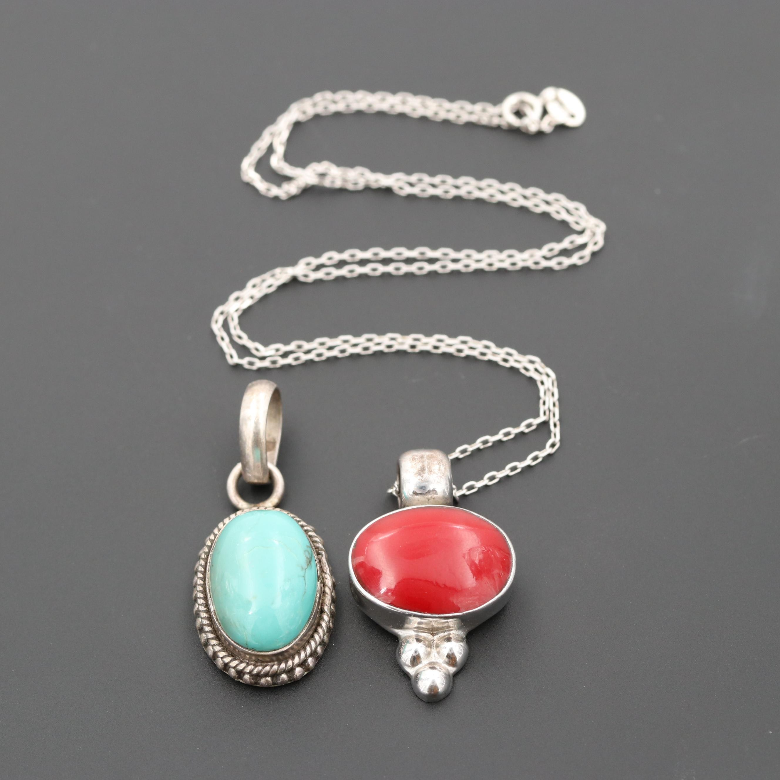 Sterling Silver Resin and Turquoise Necklace and Pendants