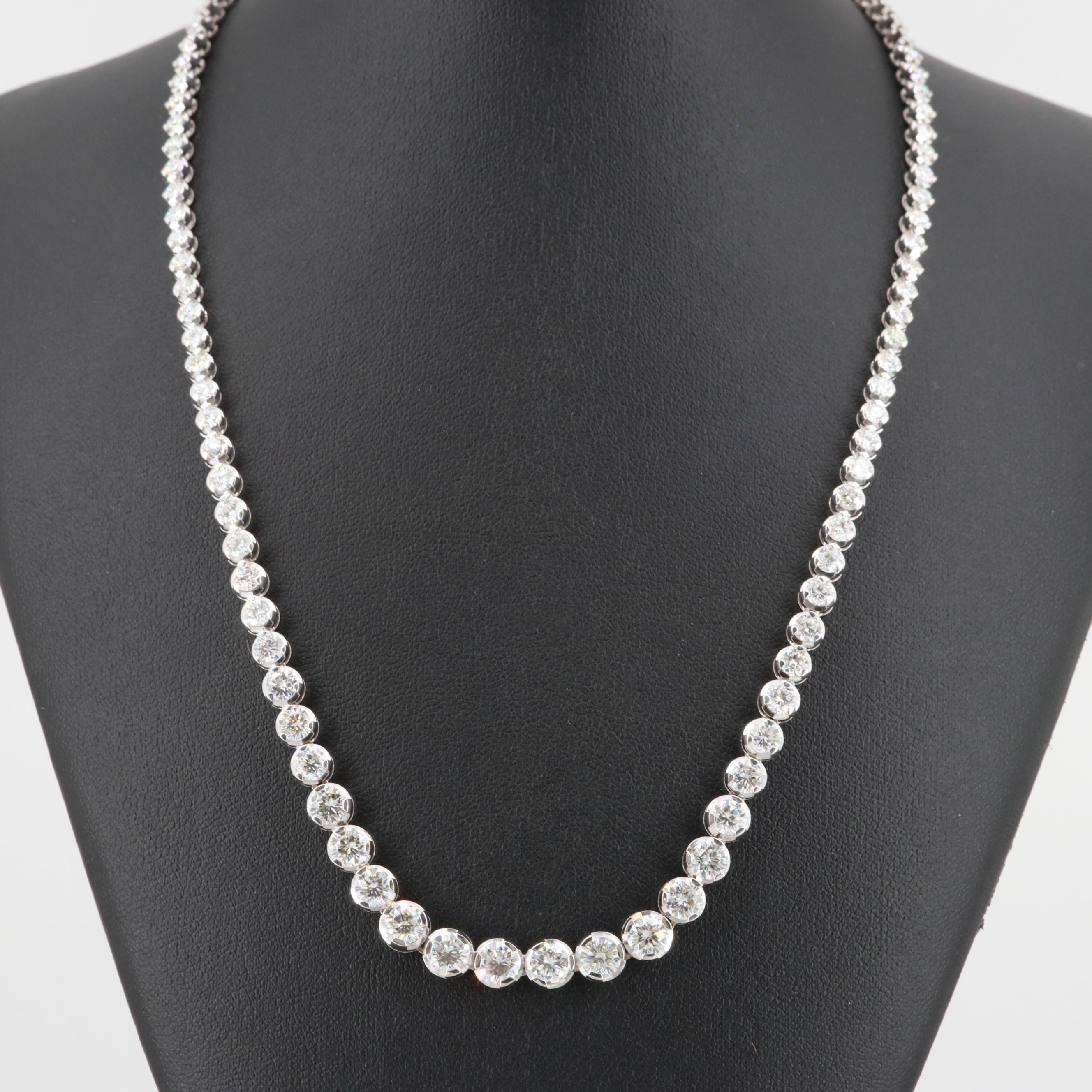 Italian 18K White Gold 11.25 CTW Diamond Graduated Rivière Necklace