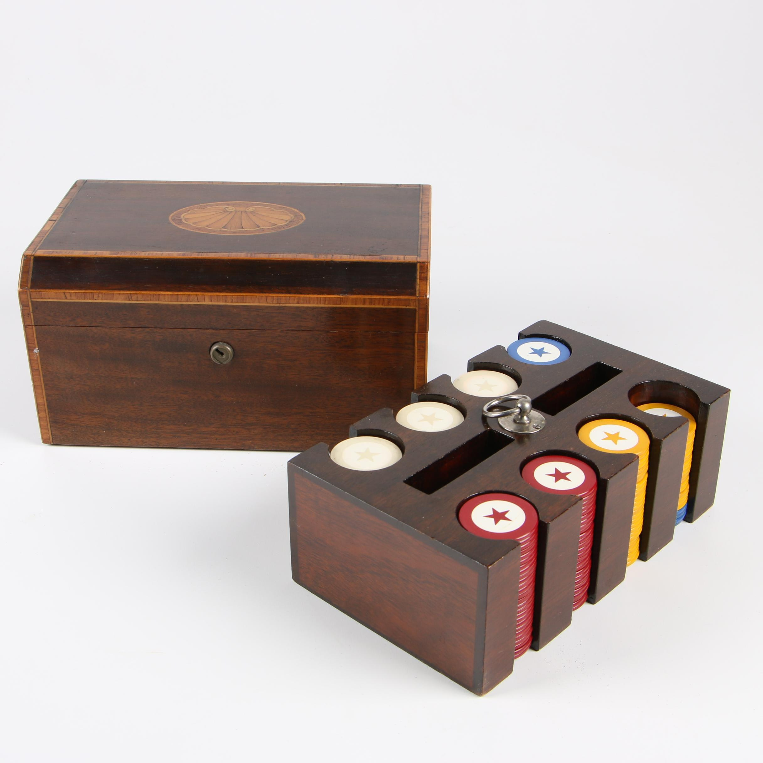 Regency Style Mahogany and Marquetry Poker Set, Late 19th/ Early 20th C.