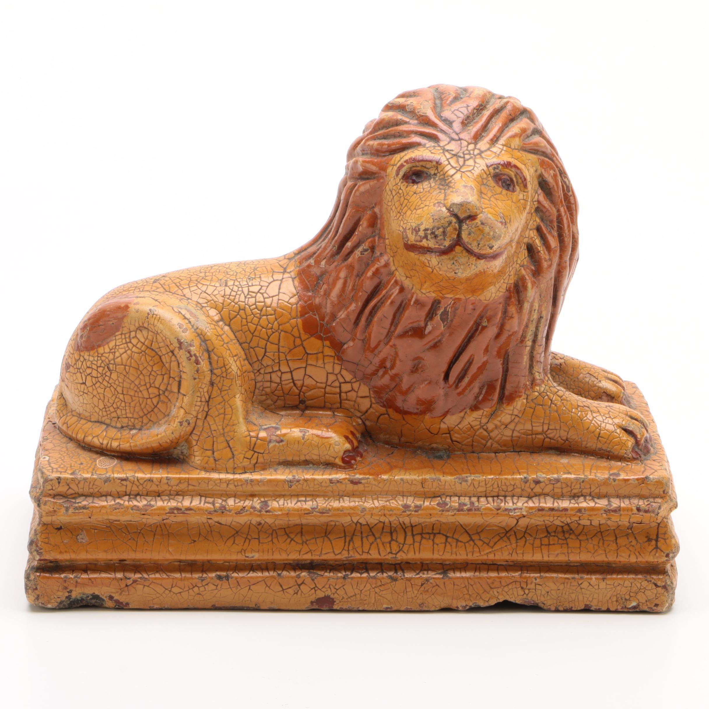 American Folk Art Sewer Tile Recumbent Lion, Early 20th Century
