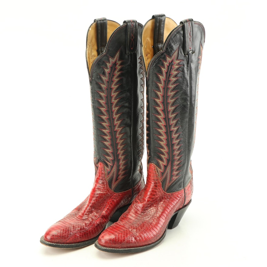 2d9f09d7c58 Women's Tony Lama Red Python Snakeskin and Black Leather Western Boots
