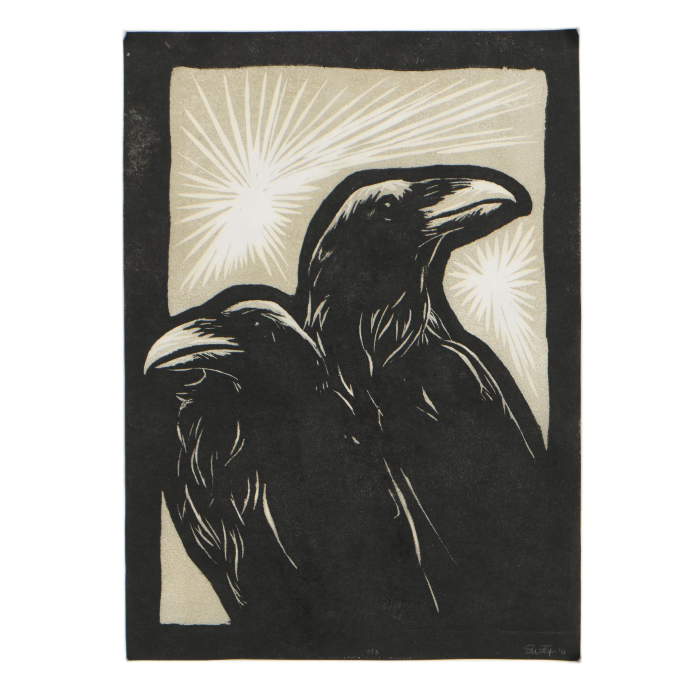 "Shannon Fitch Woodblock ""Thought & Memory"""