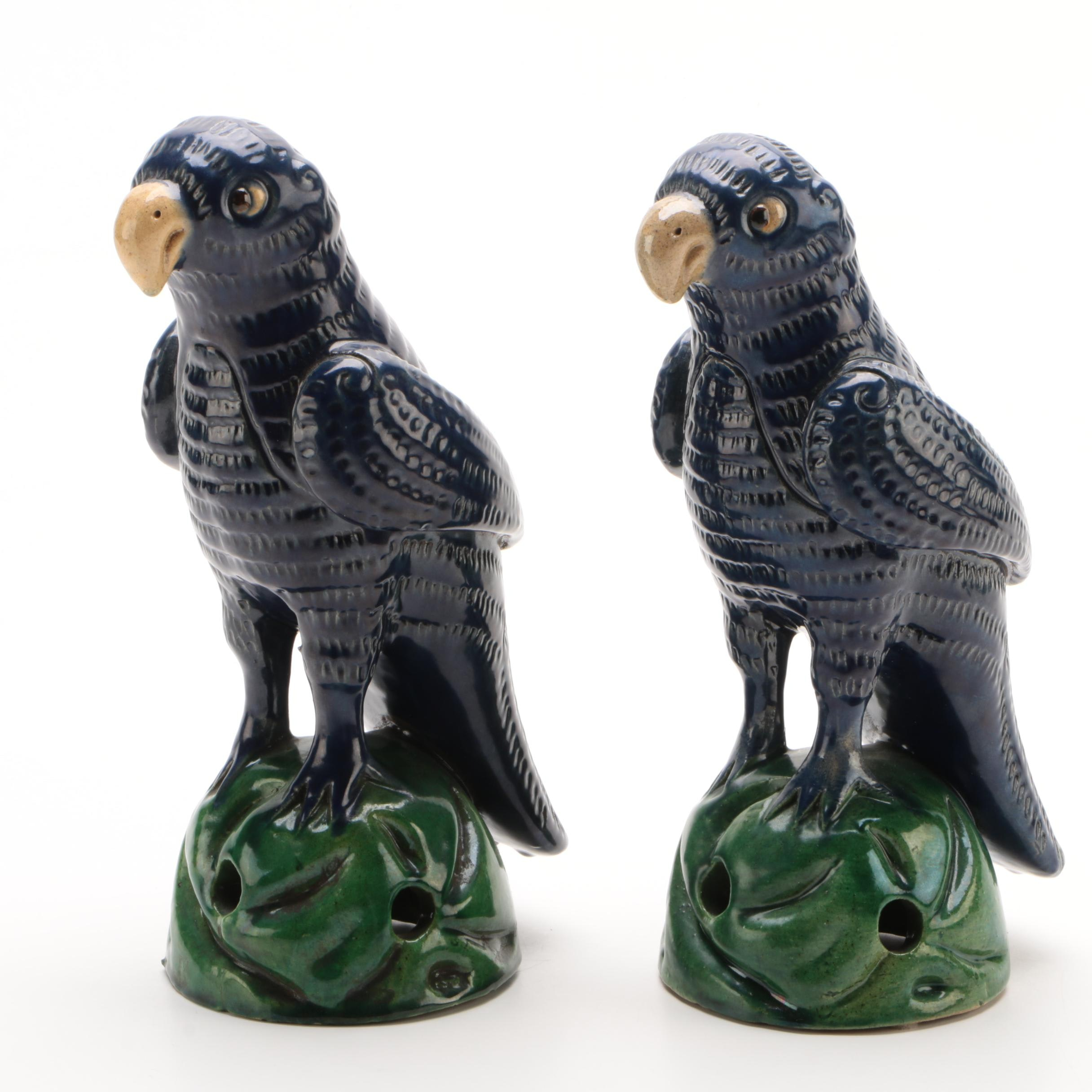 Pair of Chinese Export Earthenware Parrot Figurines