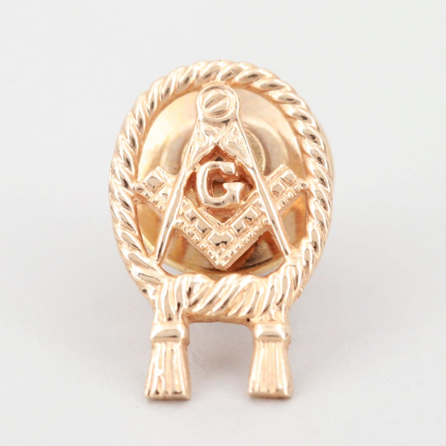 14K Yellow Gold Masonic Square and Compass Tie Tack