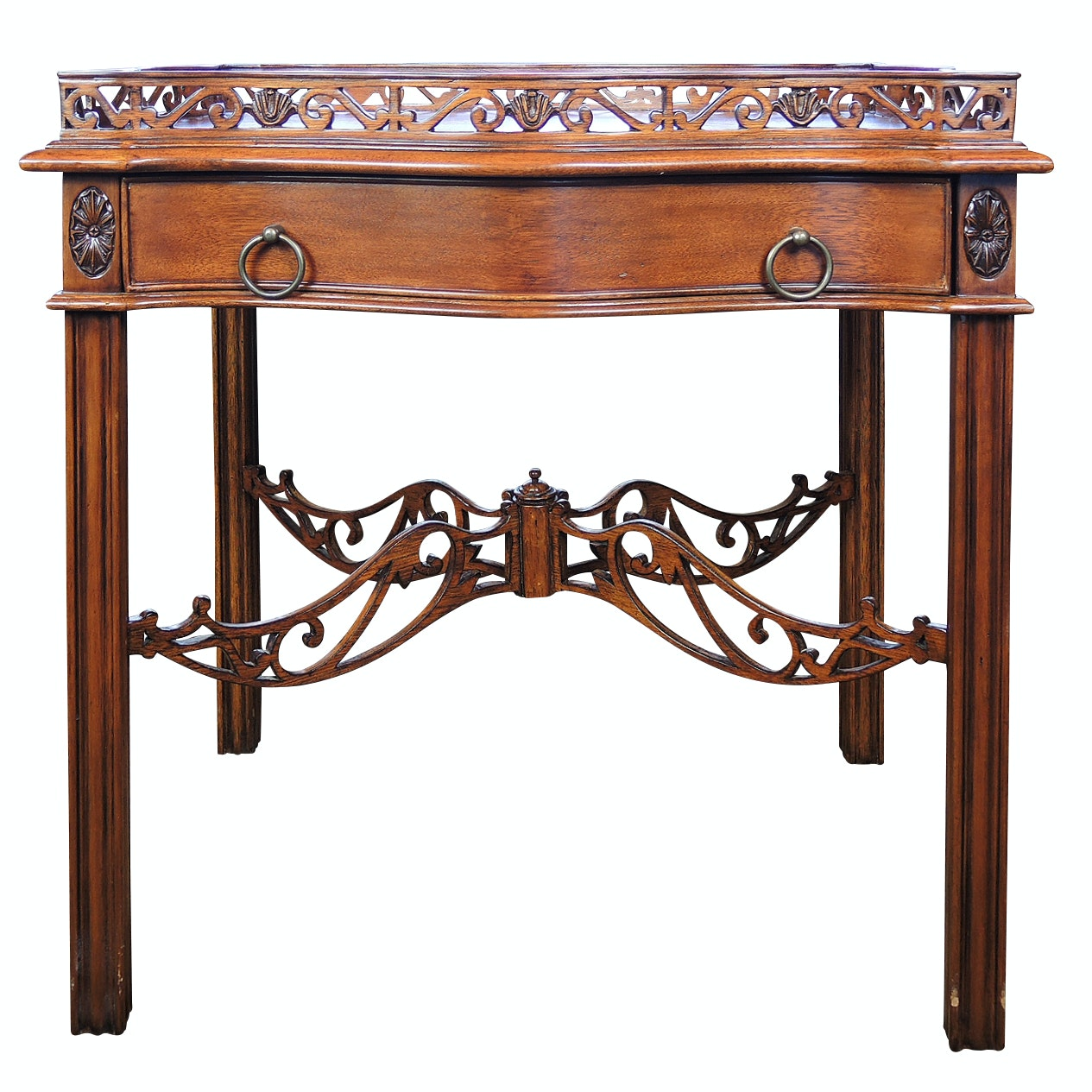 Chippendale Style Galleried Mahogany Finish Wooden Table, Contemporary
