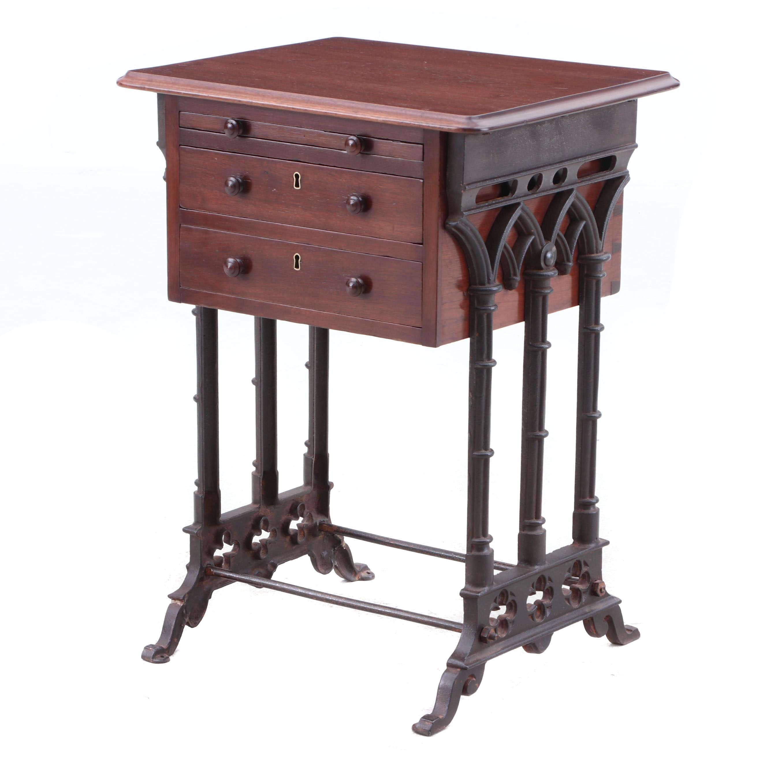 Gothic Revival Mahogany and Cast Iron Sewing Table, 19th Century