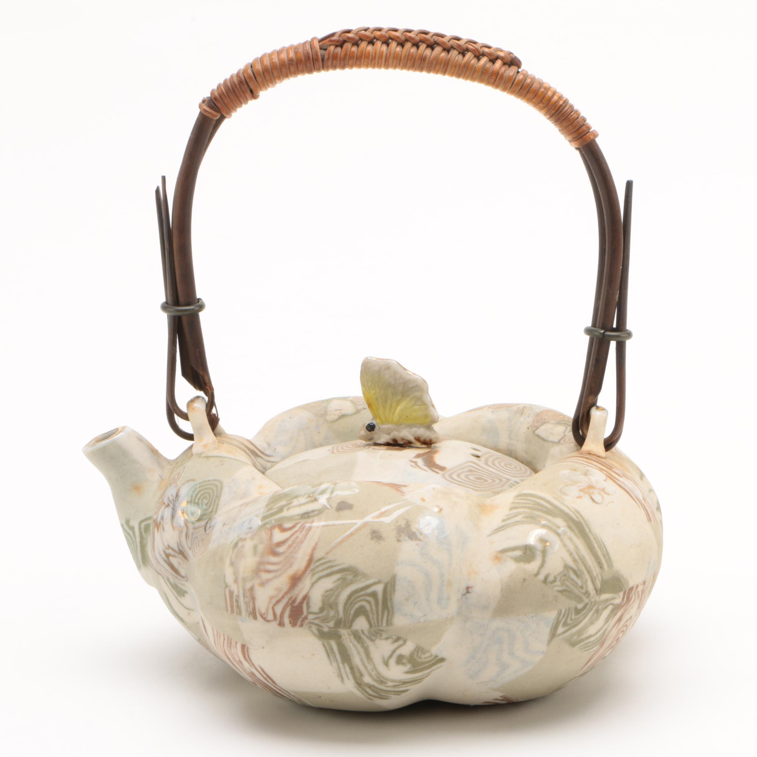Japanese Banko Ware Pumpkin Form Teapot with Butterfly Finial, 1910s
