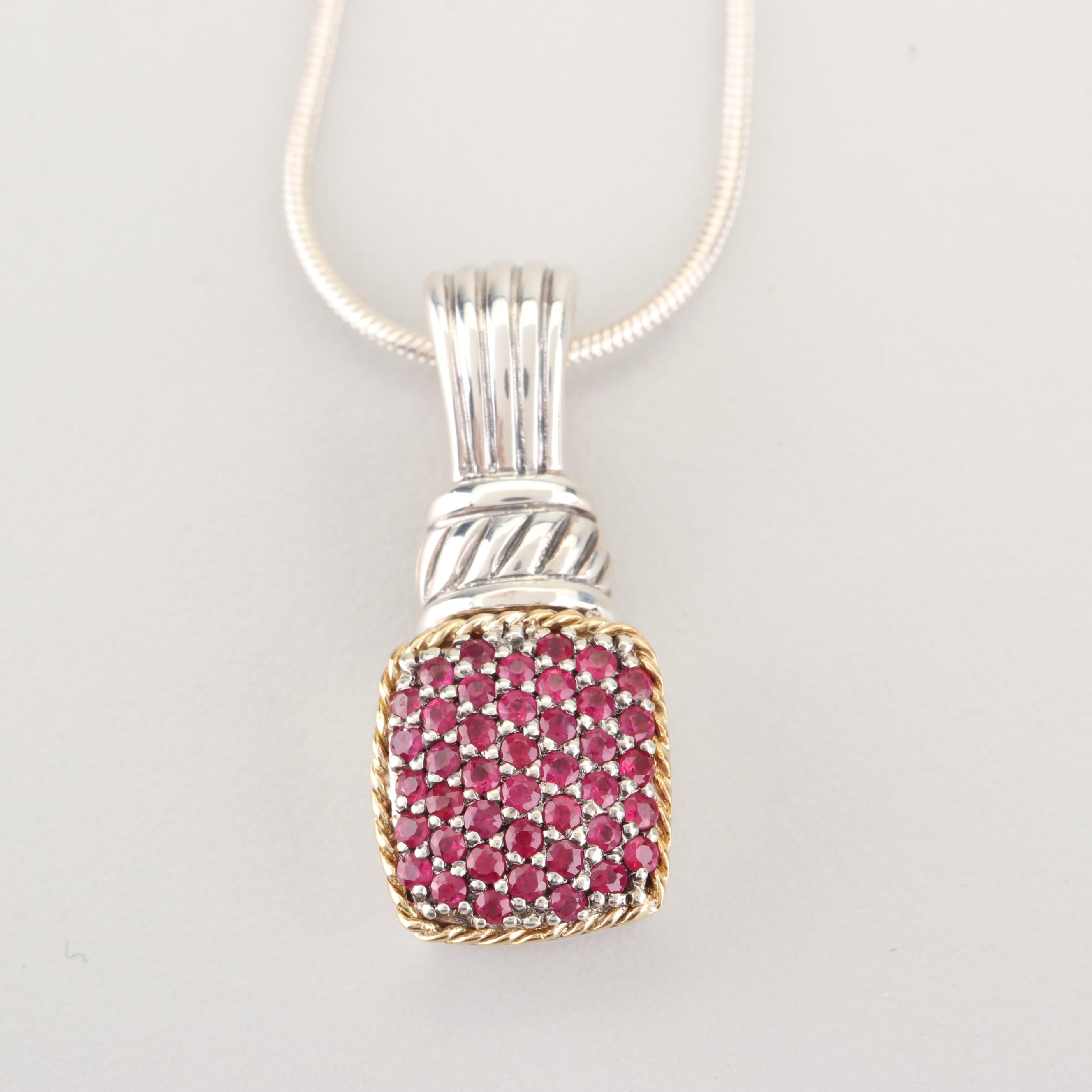 EFFY 18K Yellow Gold Accented Sterling Silver Ruby Pendant Necklace