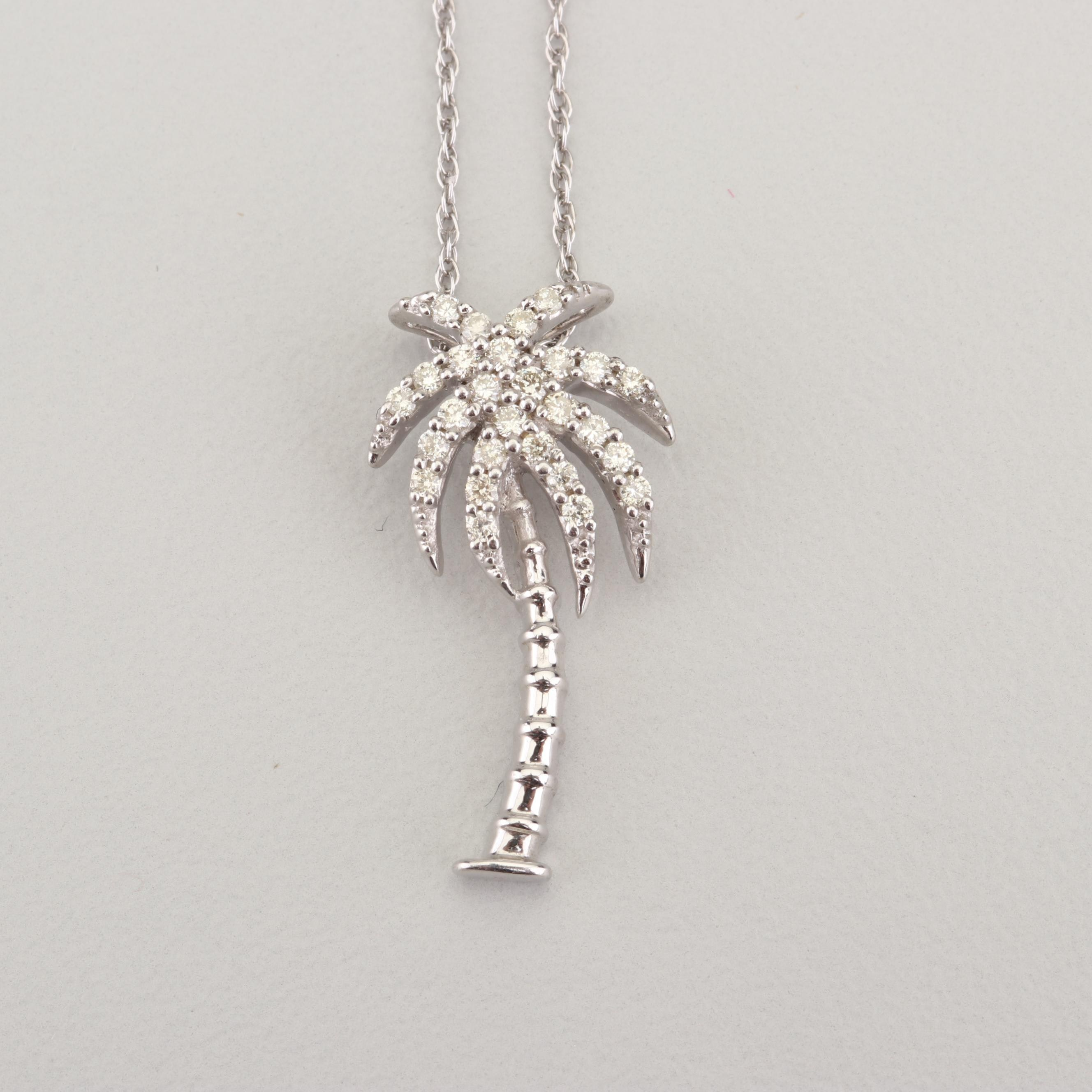 Sterling Silver Diamond Palm Tree Pendant Necklace