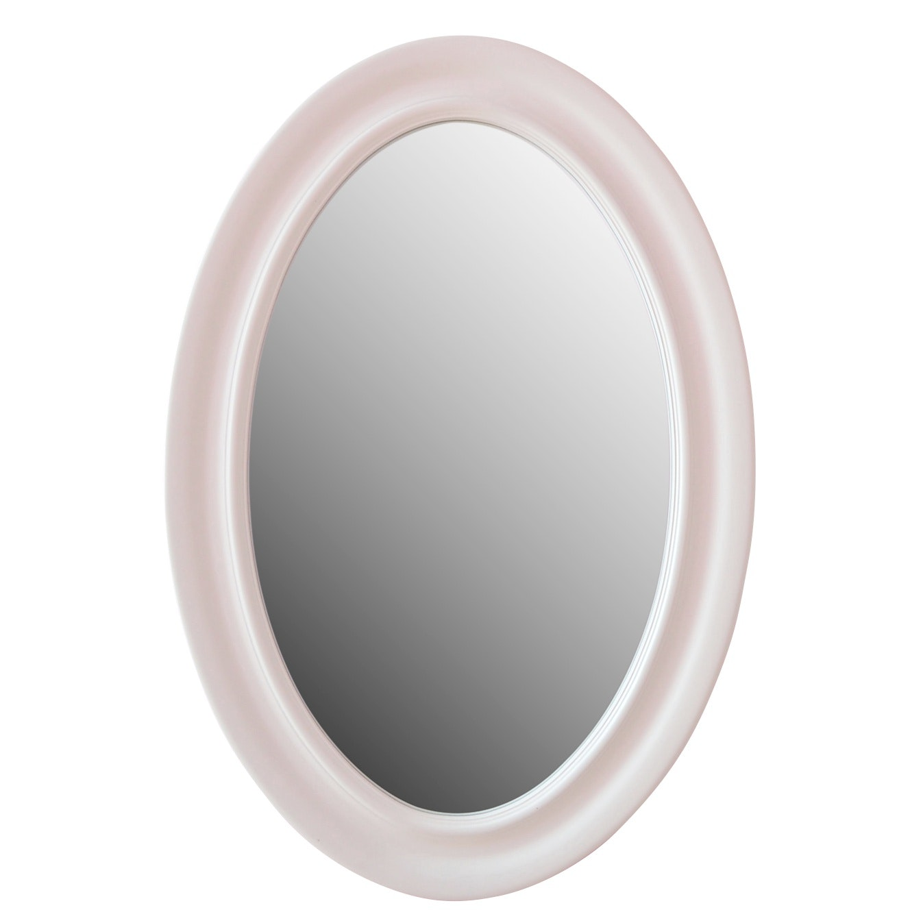 Contemporary White Painted Oval Wall Mirror