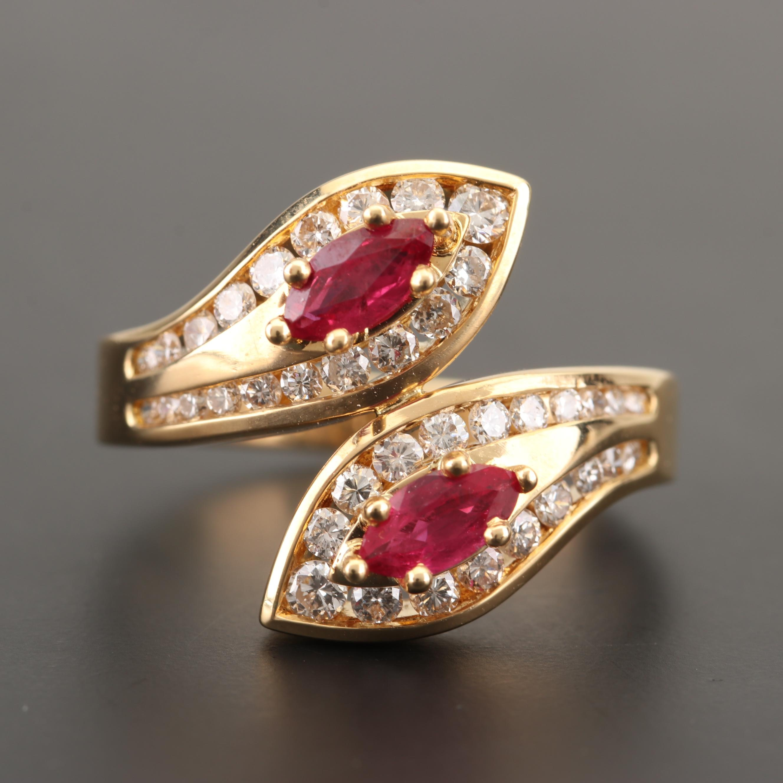 18K Yellow Gold Ruby and Diamond Bypass Ring
