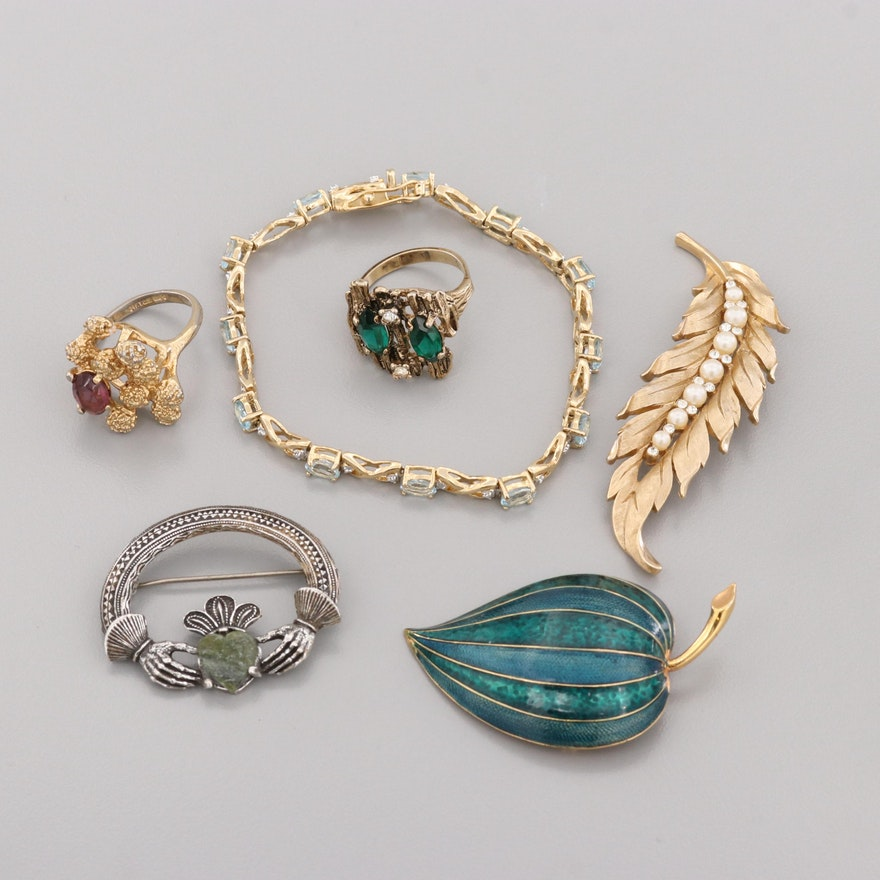 bb408683eb7 Costume Jewelry Assortment Featuring Crown Trifari and Boucher Brooches |  EBTH