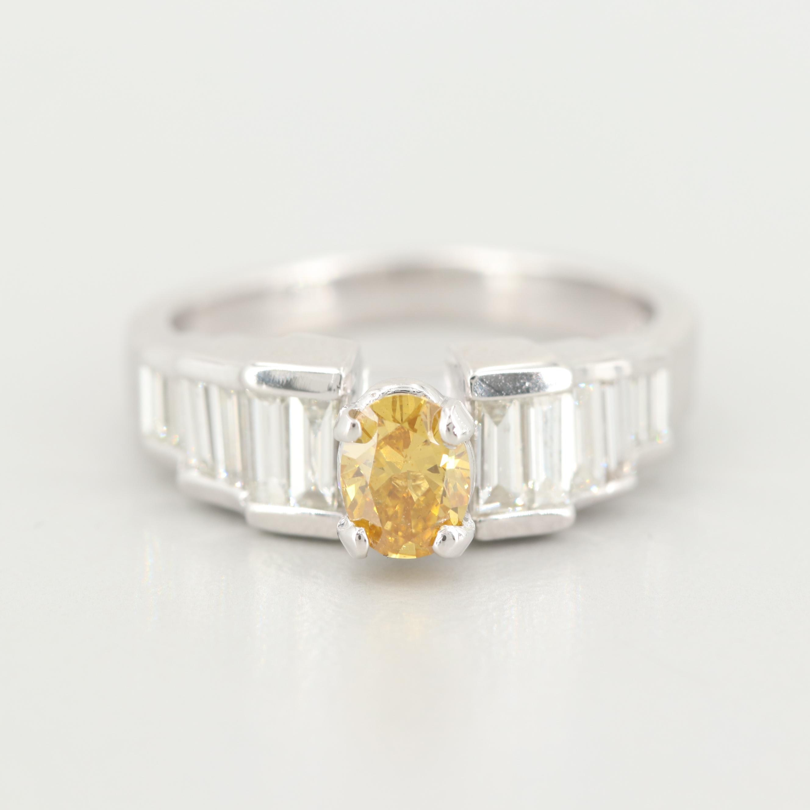 14K Gold 1.59 CTW Diamond Ring with GIA Report Including Fancy Yellow Diamond
