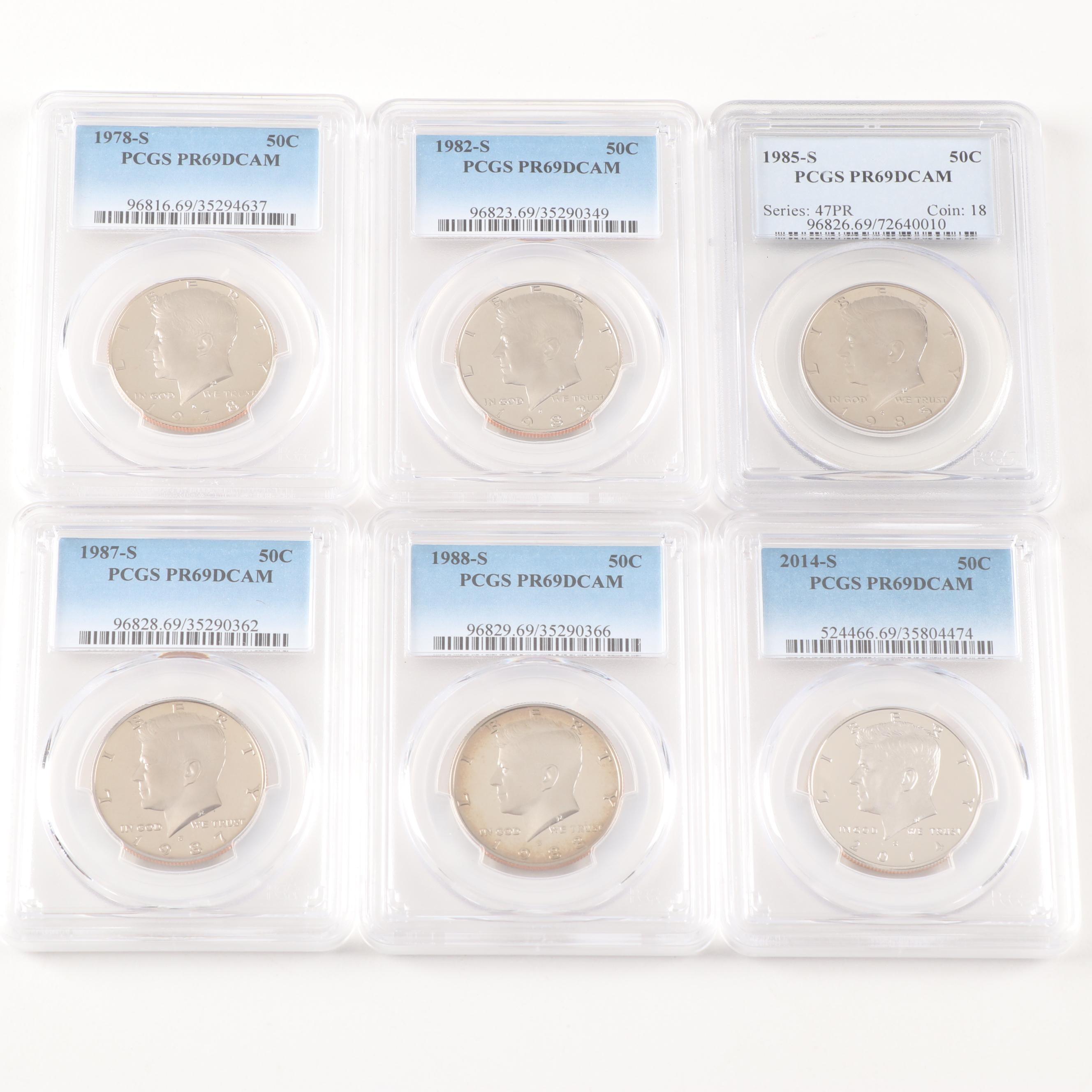 PCGS Graded PR69 DCAM Kennedy Half Dollar Proof Coins