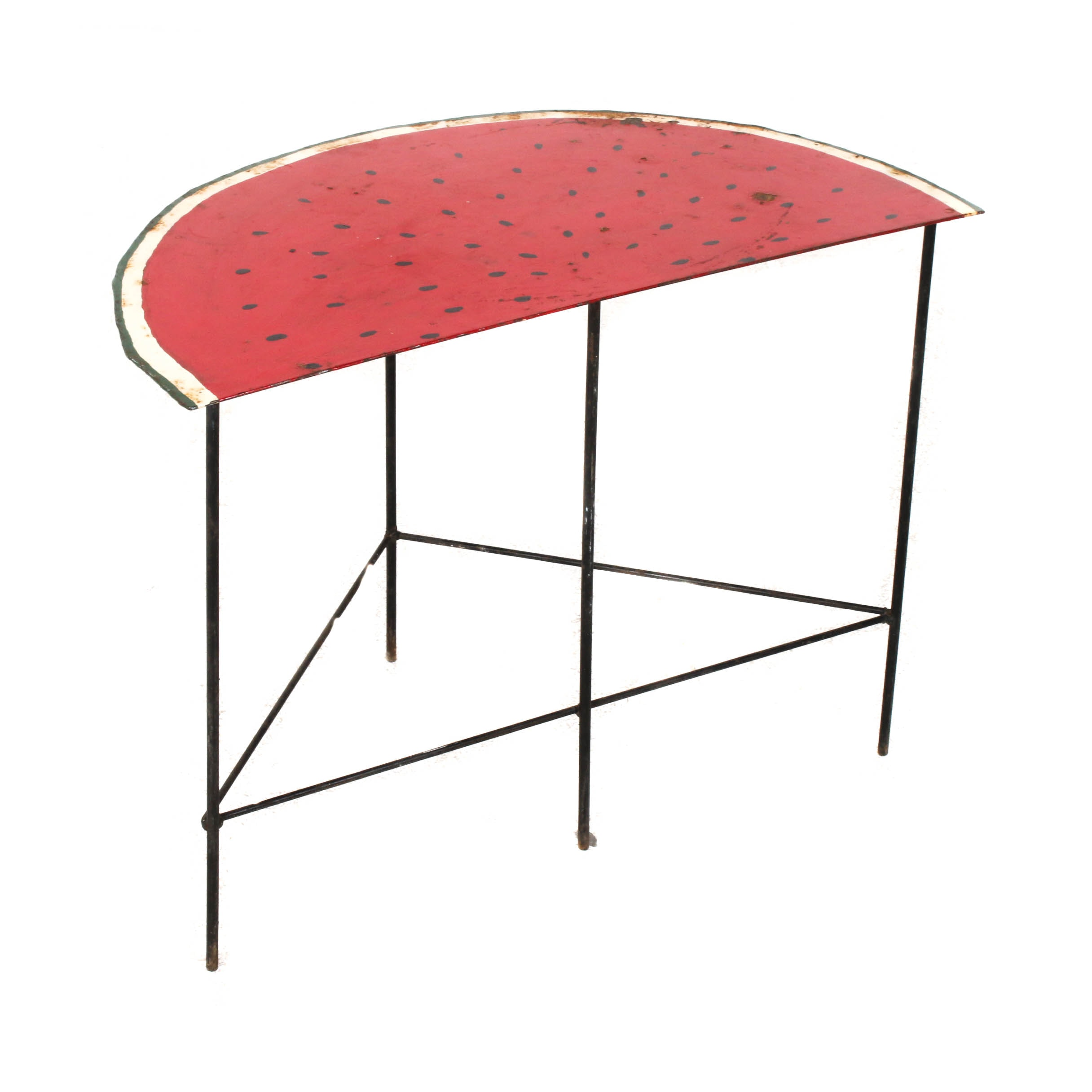Watermelon Cast Iron Side Table, Late 20th Century