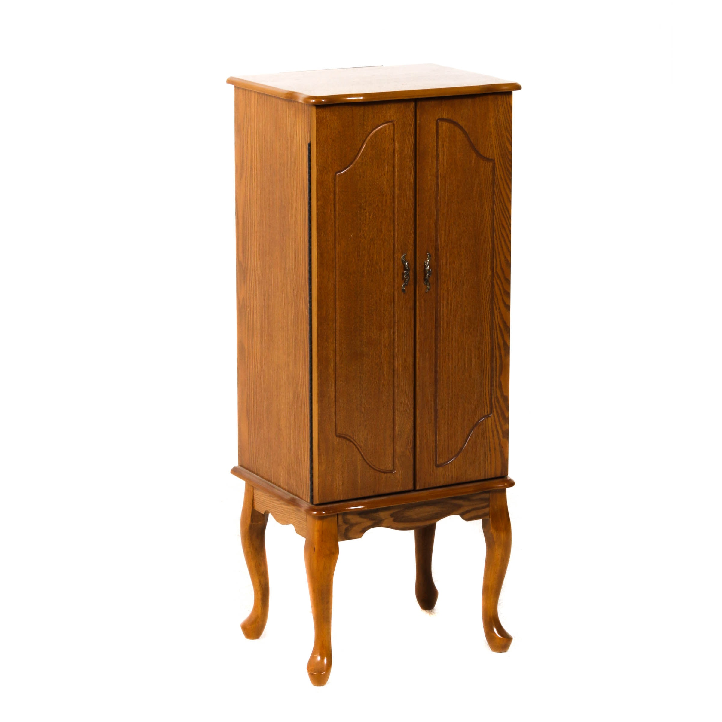Powell Wood Jewelry Armoire with Felt Lined Drawers, Mid-Century