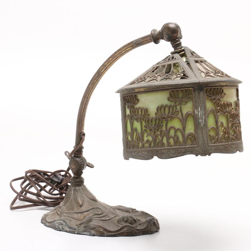 Art Nouveau Desk Lamp with Overlay Slag Glass Shade After Miller