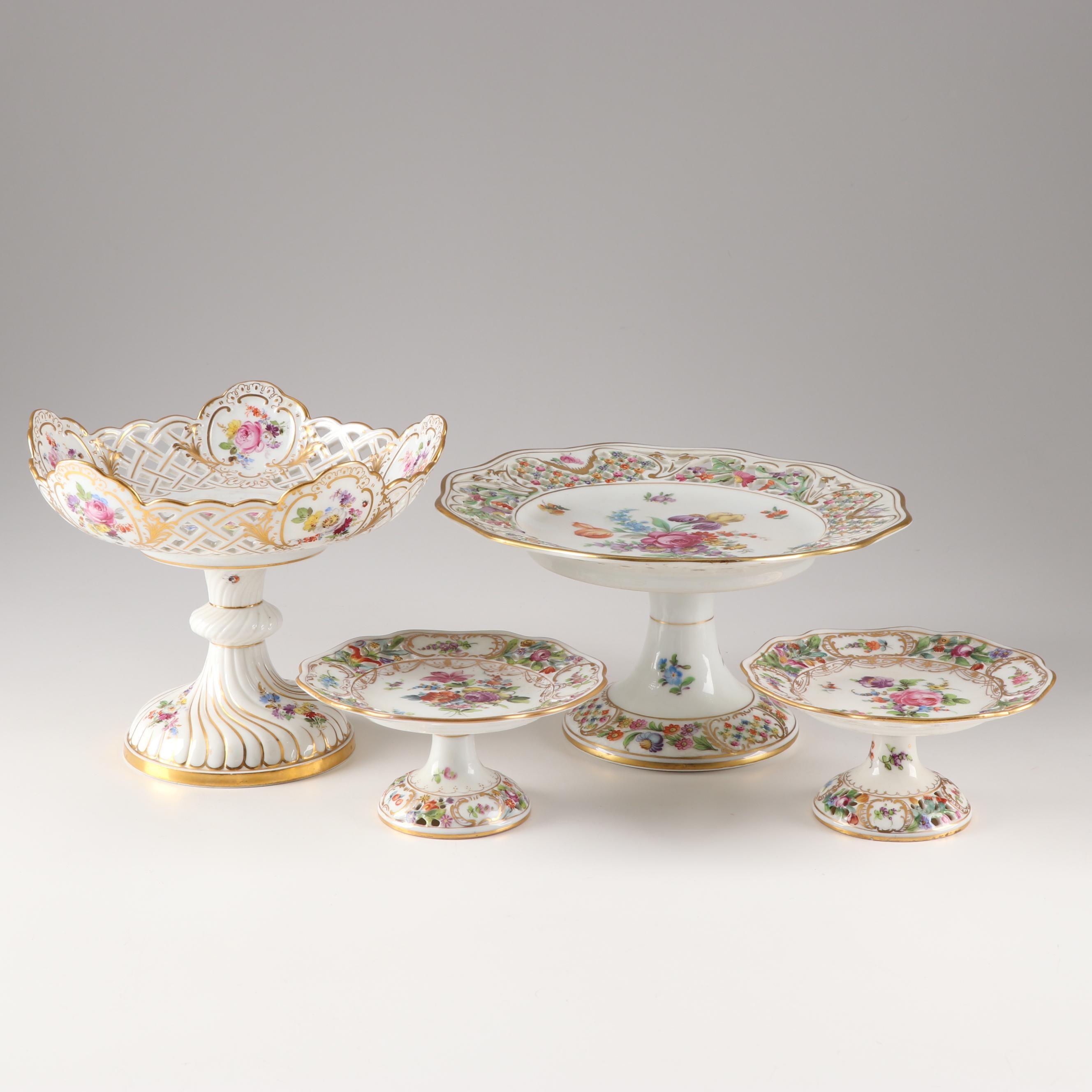 Hand Painted Centerpieces Including Meissan and Dresden, 20th Century