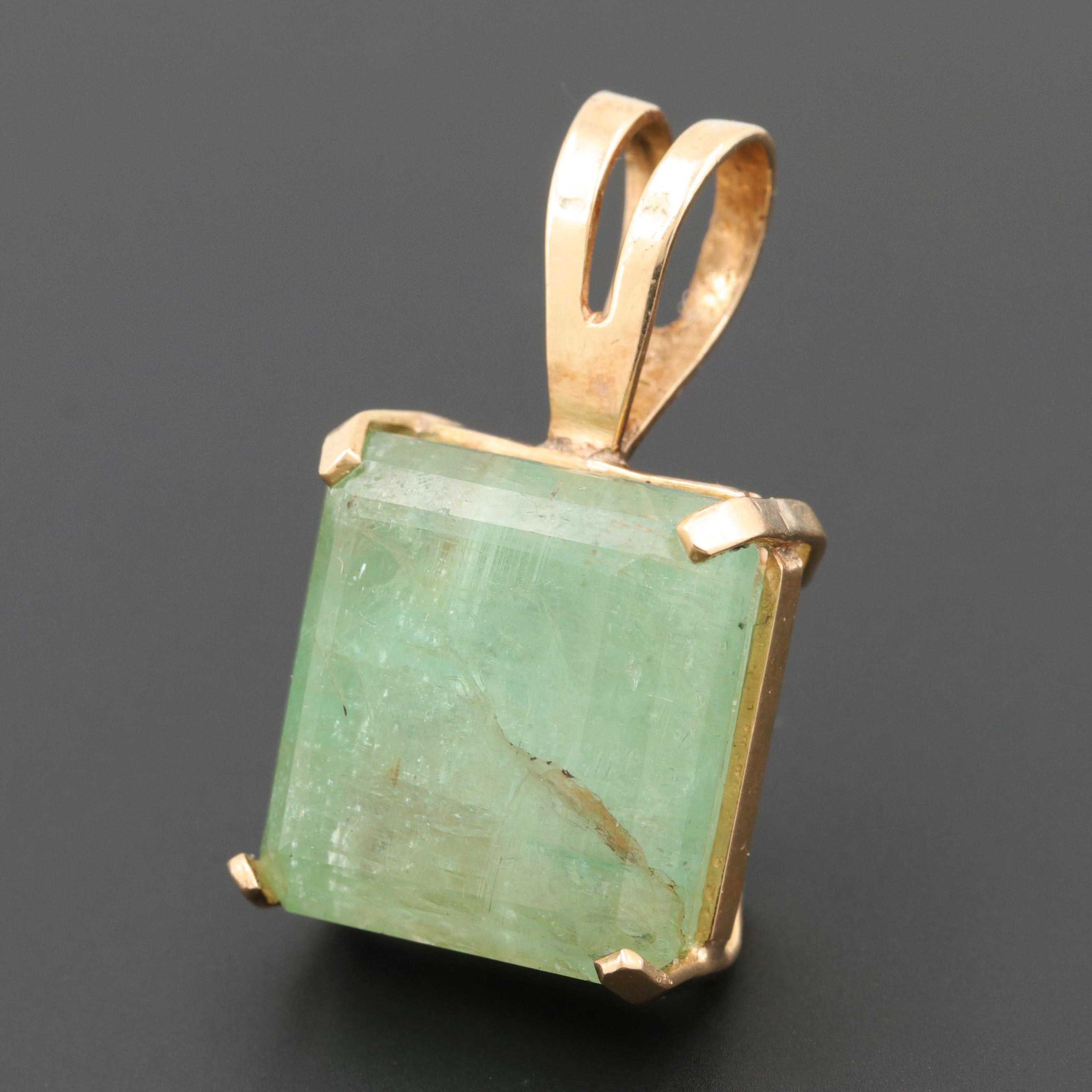 14K Yellow Gold 42.65 CT Green Beryl Pendant