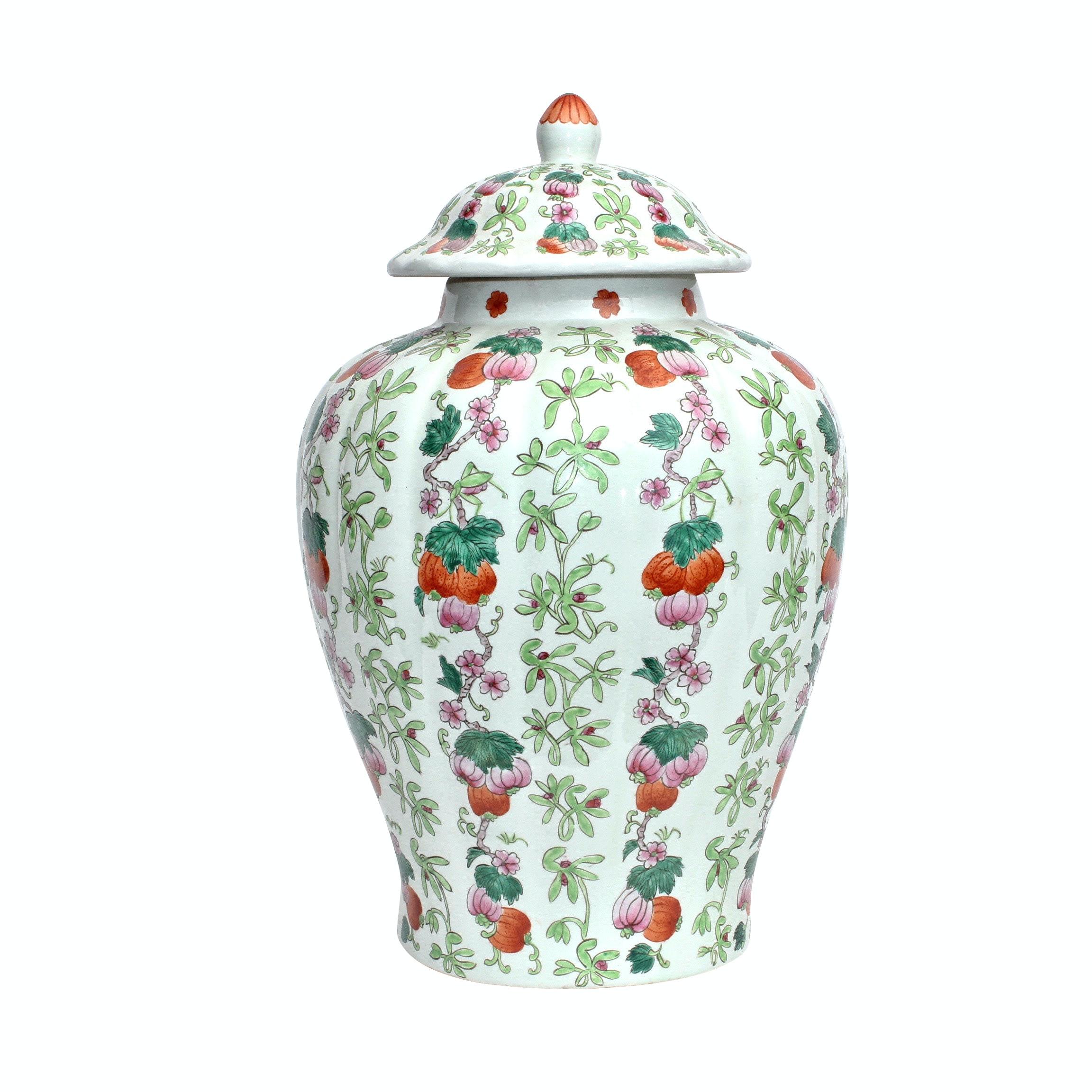 Chinese Porcelain Floral Urn, Vintage